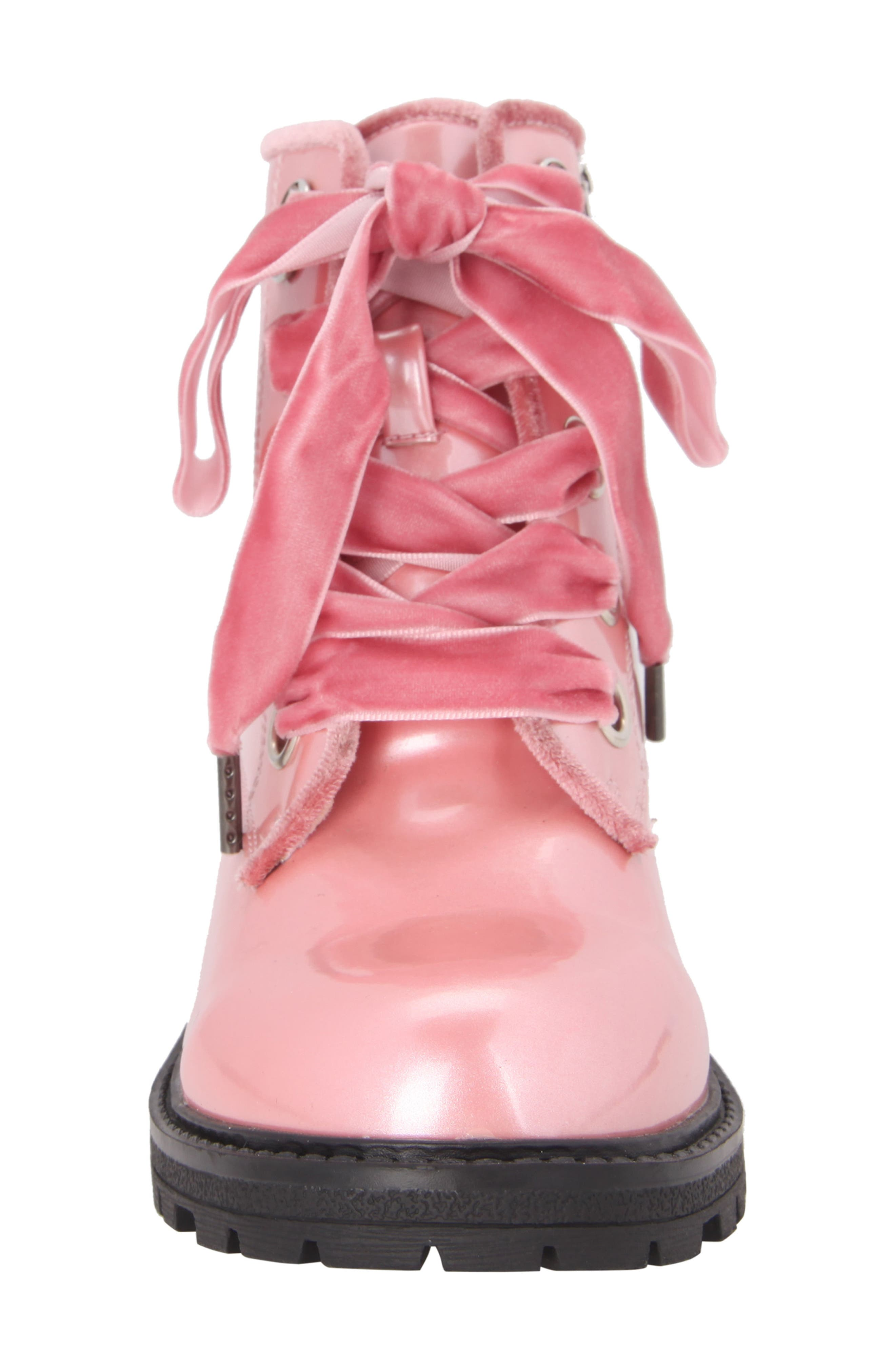 Cherrie Lugged Patent Boot,                             Alternate thumbnail 4, color,                             Blush Faux Patent/ Velvet