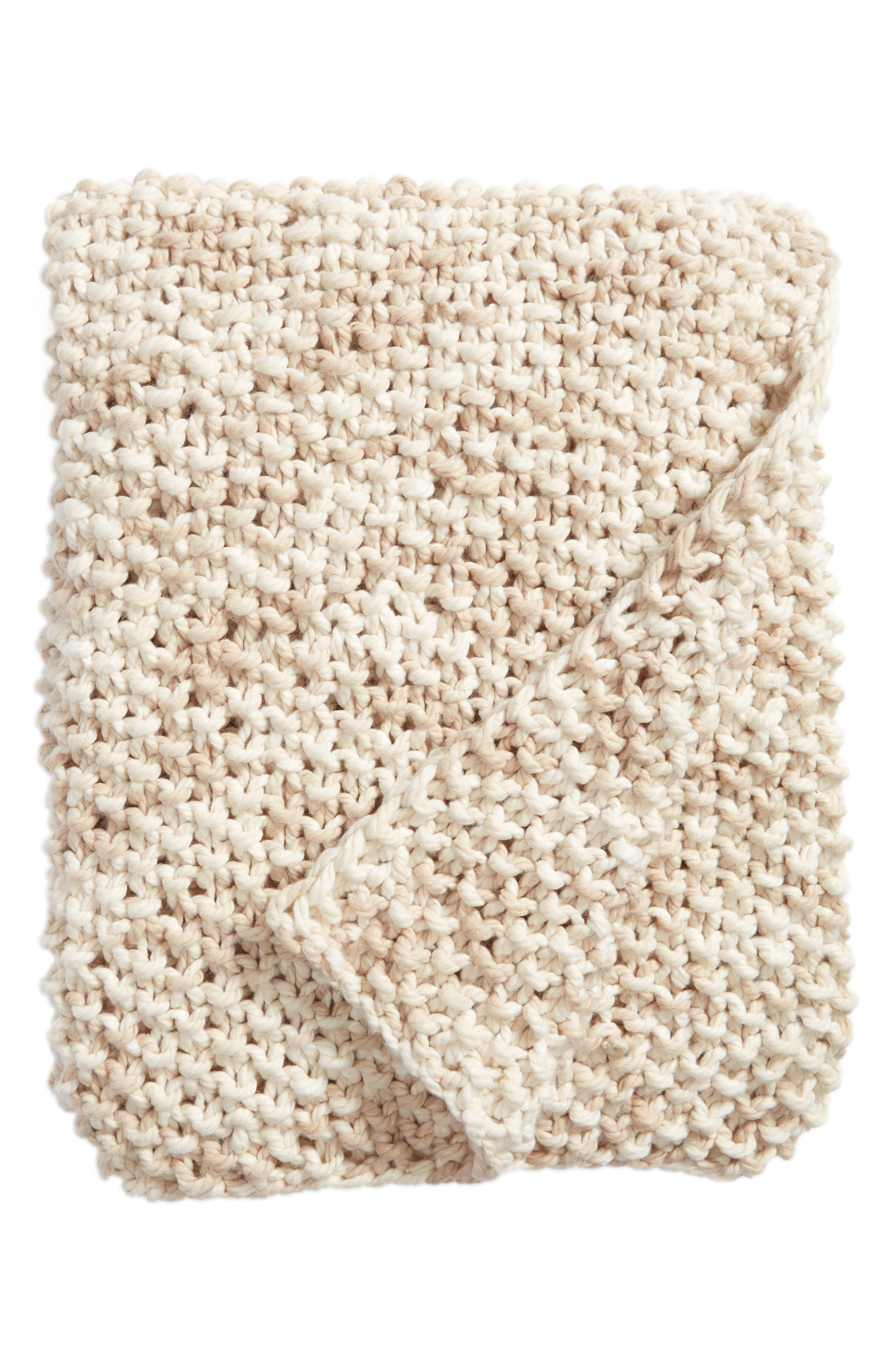 Space Dye Knit Throw,                             Main thumbnail 1, color,                             Ivory