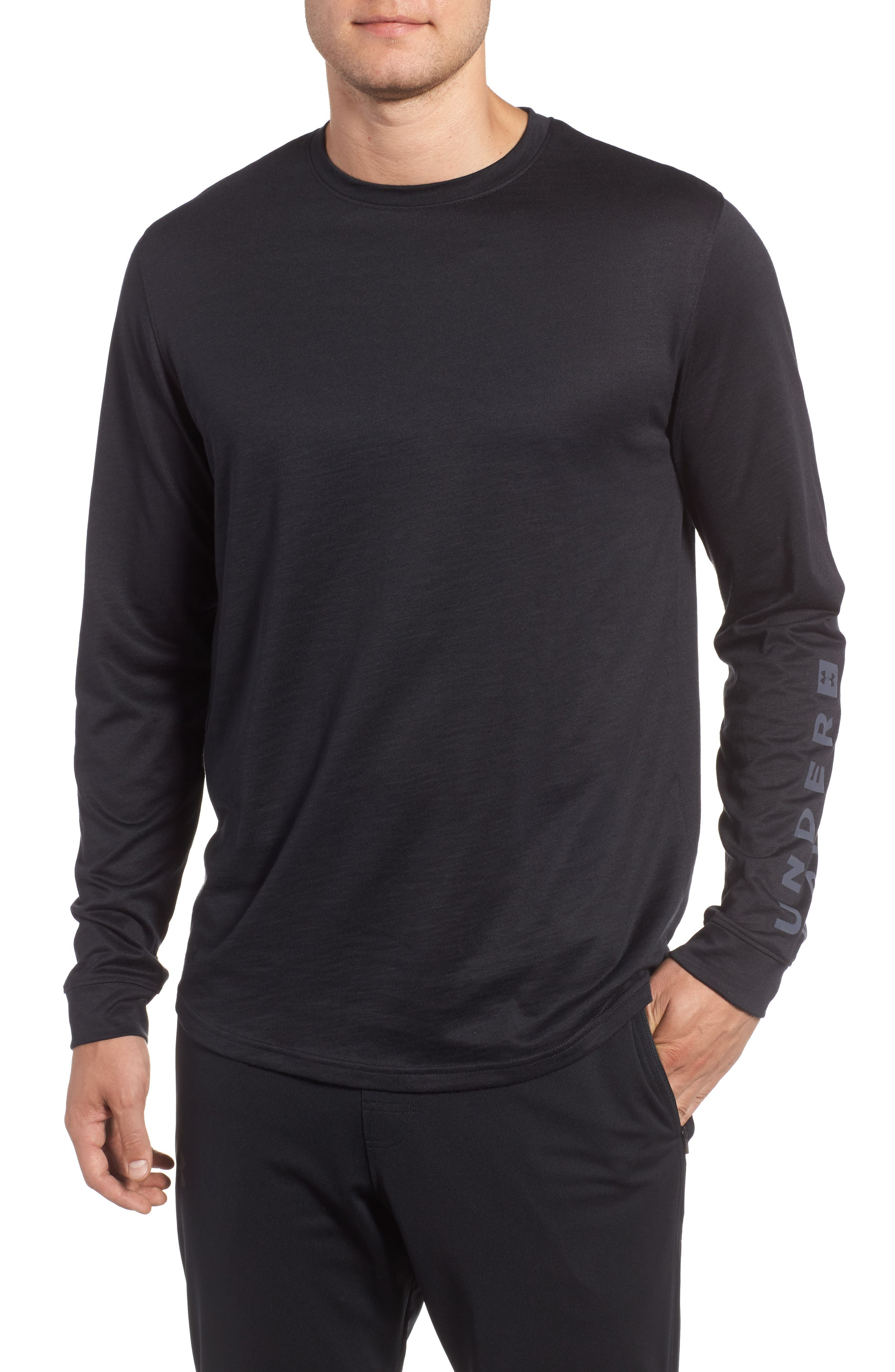 Sportstyle Long Sleeve Graphic T-Shirt,                             Main thumbnail 1, color,                             Black / Stealth Gray