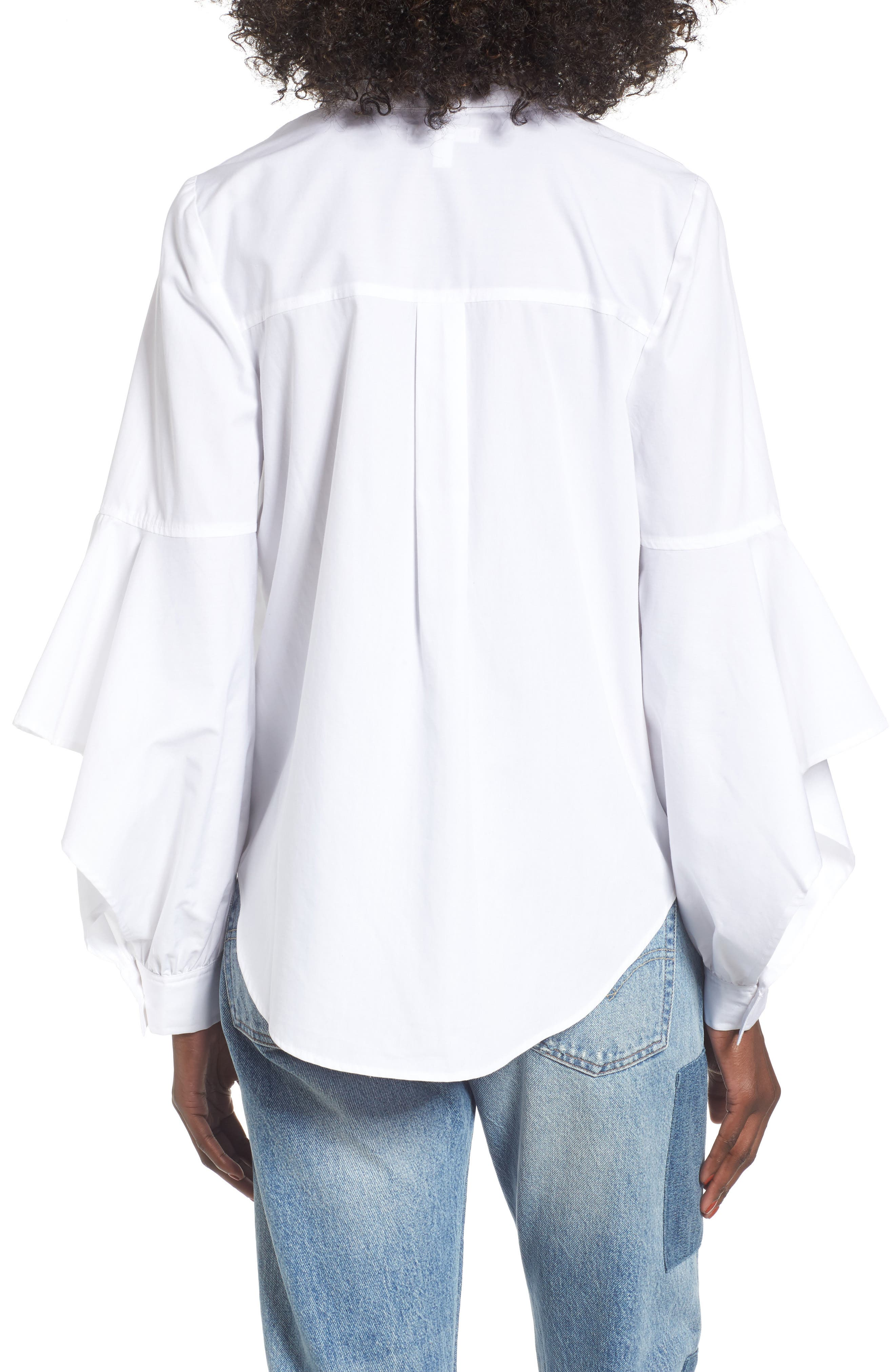 Embellished Ruffle Sleeve Top,                             Alternate thumbnail 2, color,                             White
