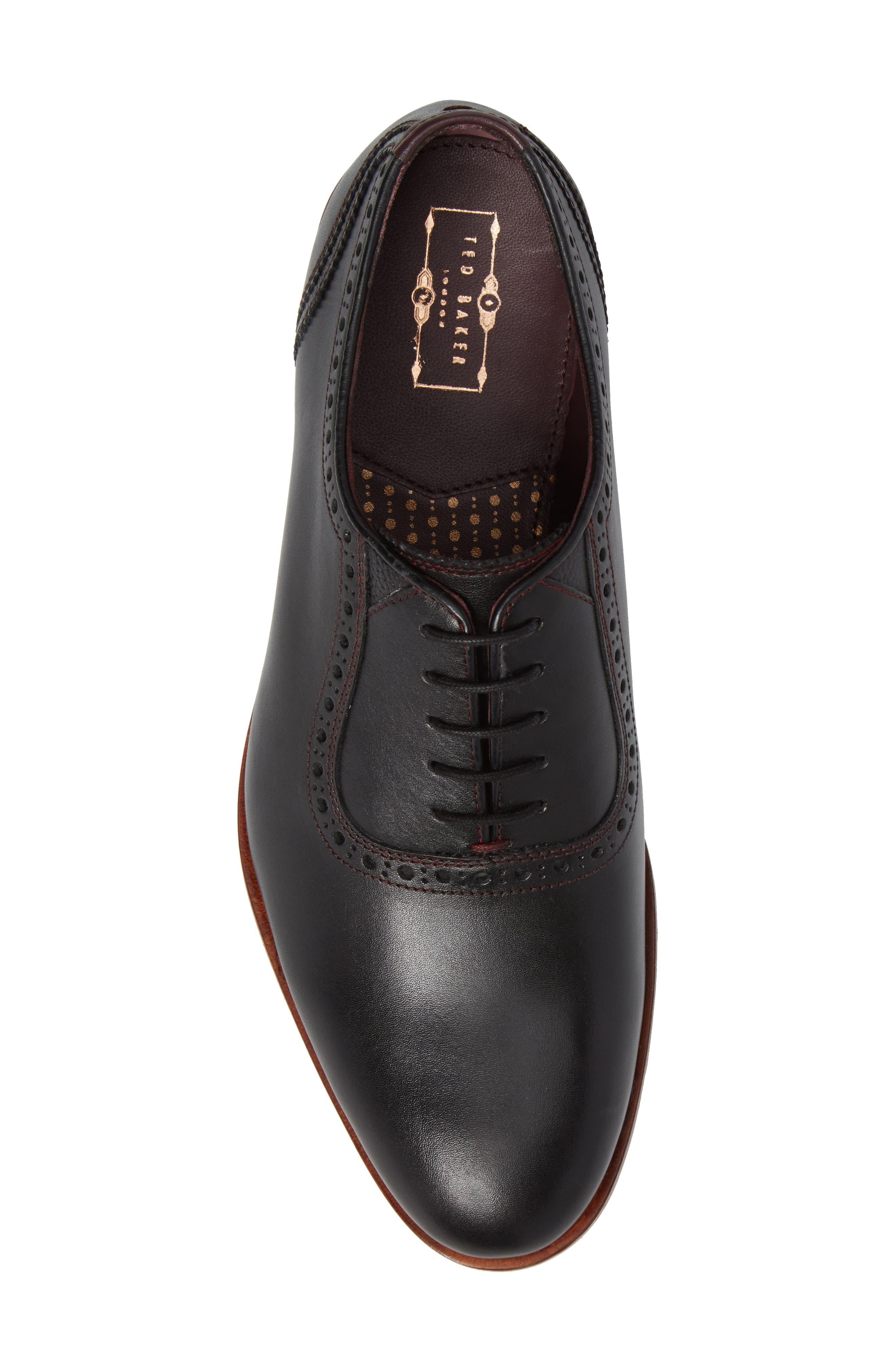 Anice Plain Toe Oxford,                             Alternate thumbnail 3, color,                             Black Leather