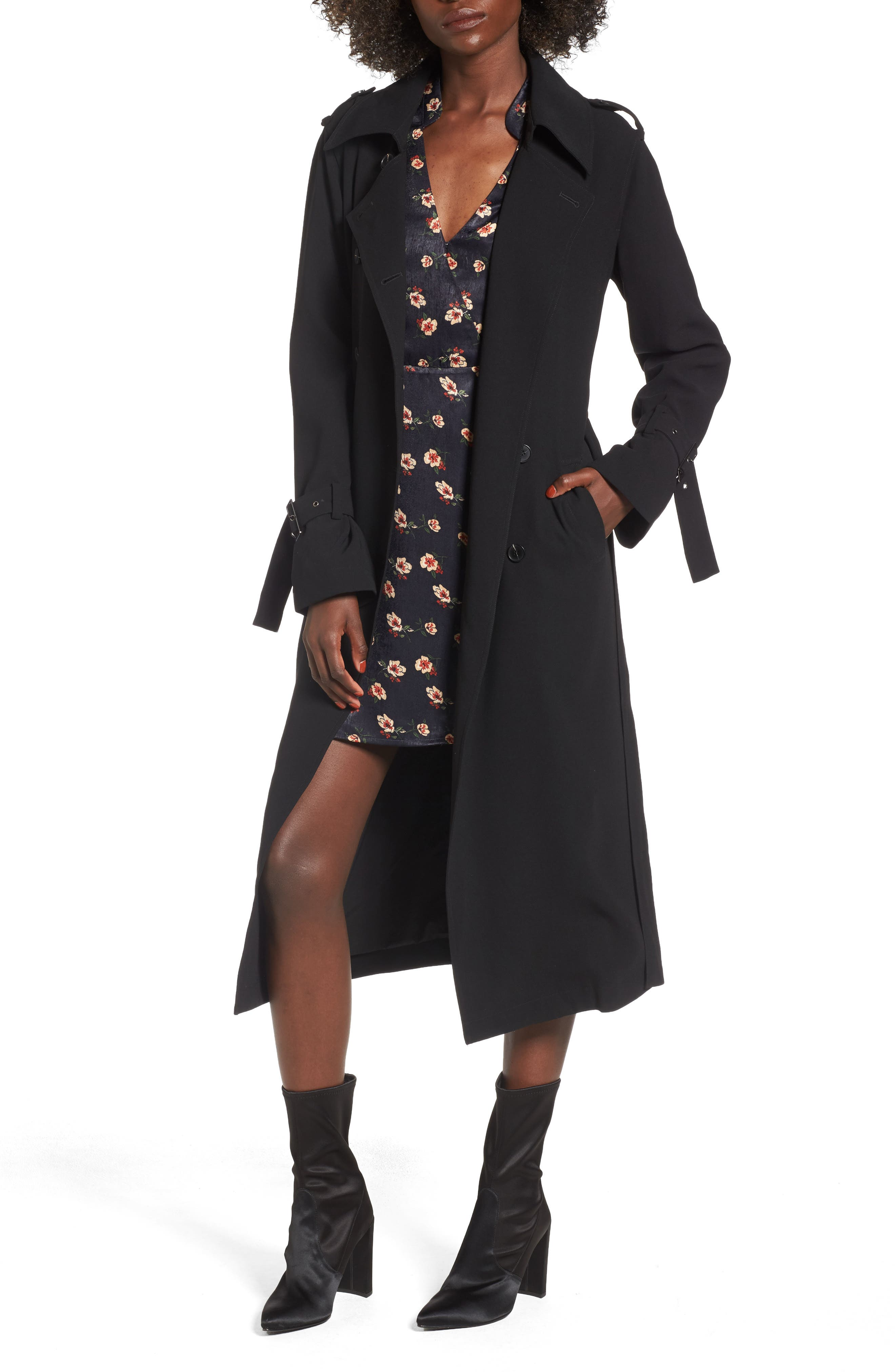Long Trench Coat,                         Main,                         color, Black