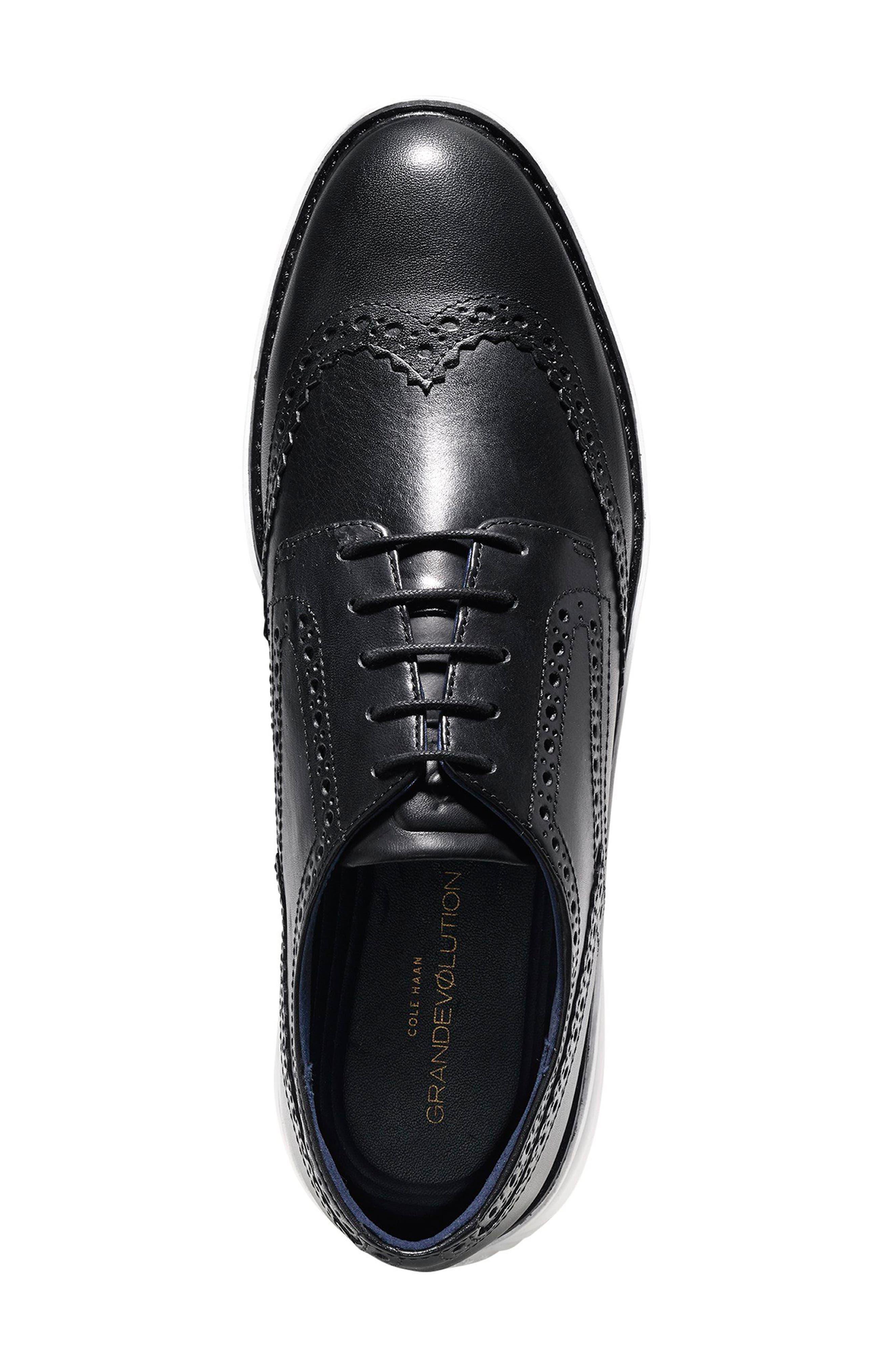 Gradevolution Oxford Sneaker,                             Alternate thumbnail 4, color,                             Black/ Optic White Leather