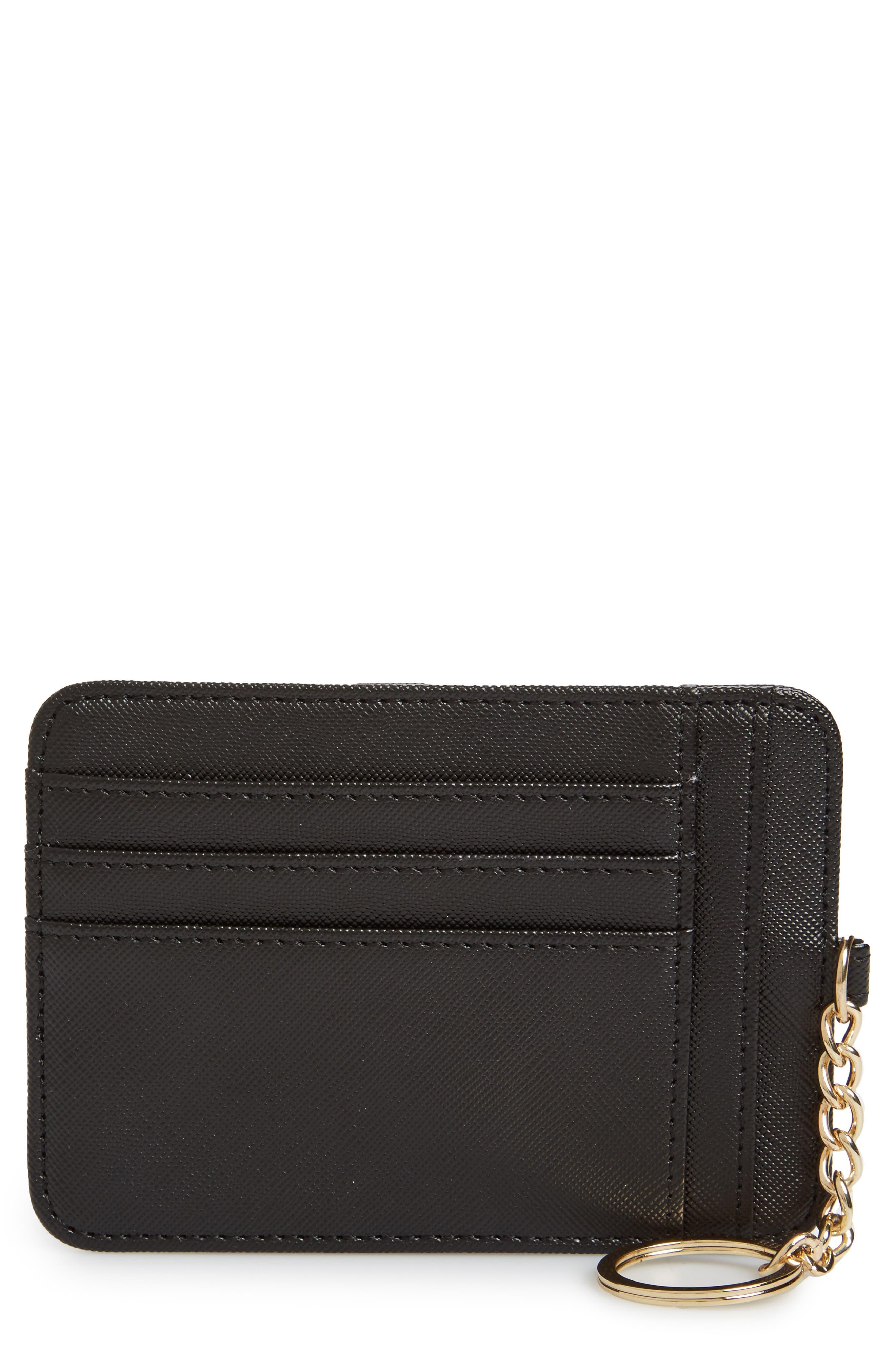 Faux Leather Zip Key Chain Card Case,                             Main thumbnail 1, color,                             Black