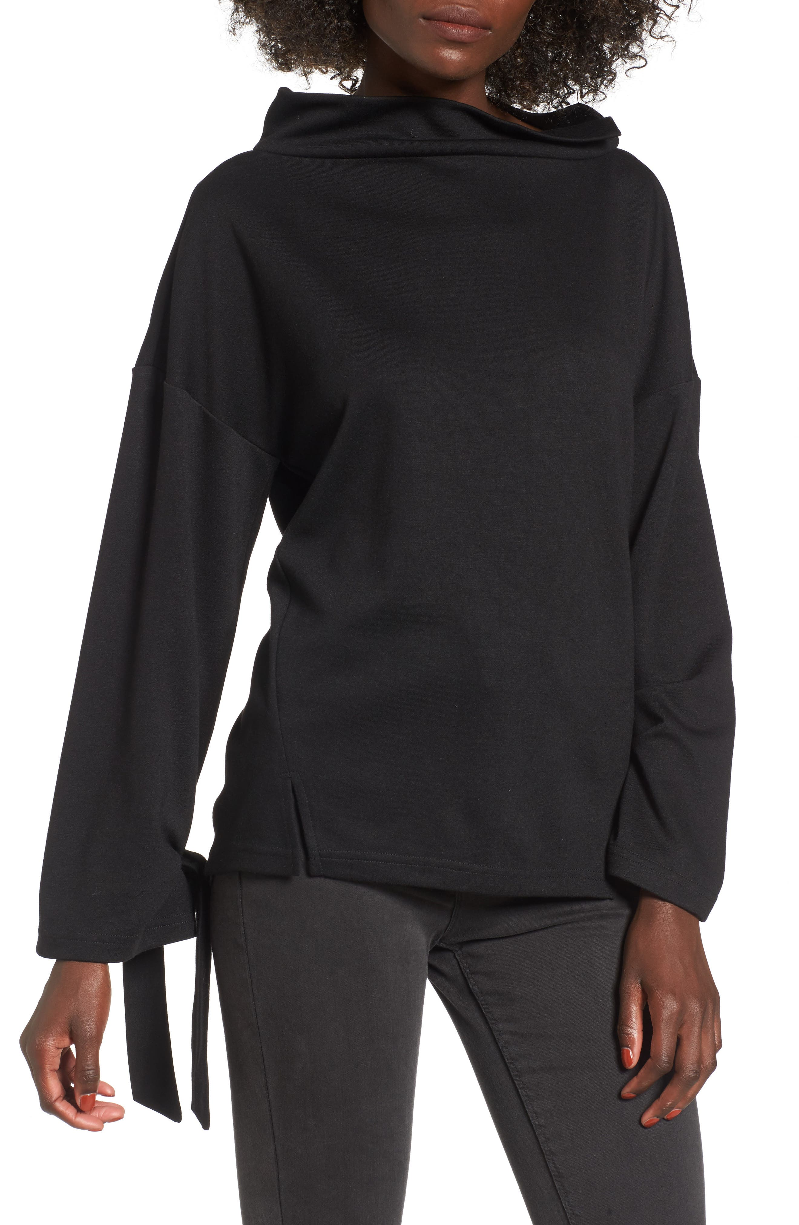 Tie Sleeve Sweater,                         Main,                         color, Black