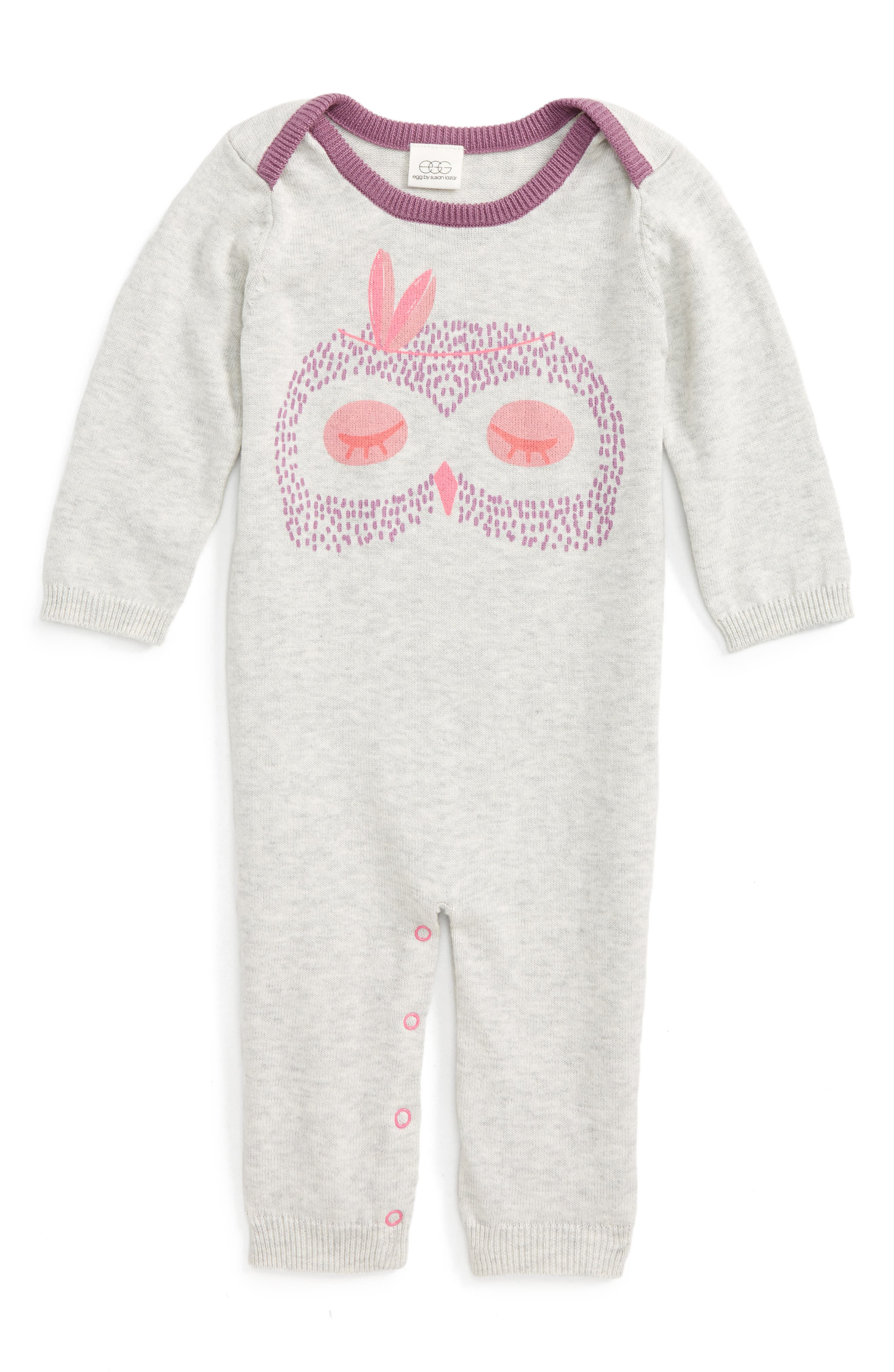 Main Image - egg by susan lazar Critter Romper (Baby Girls)