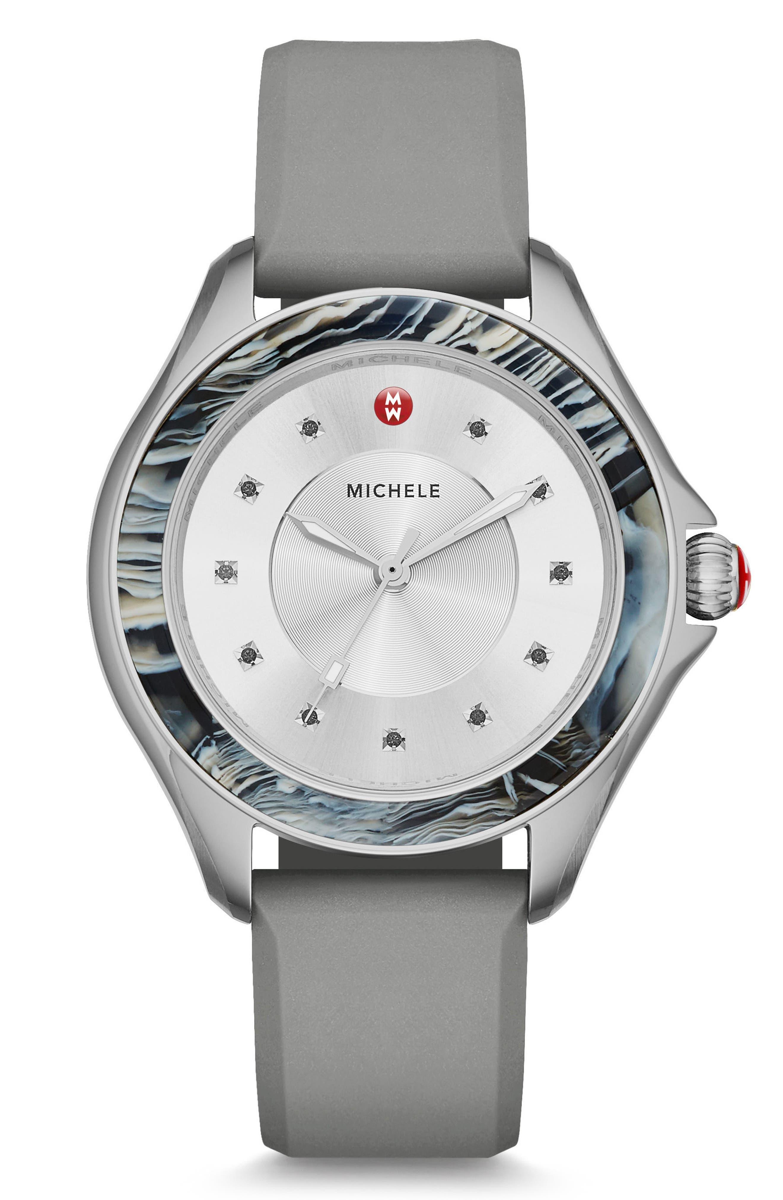 MICHELE Cape Jewel Head & Silicone Strap Watch, 40mm