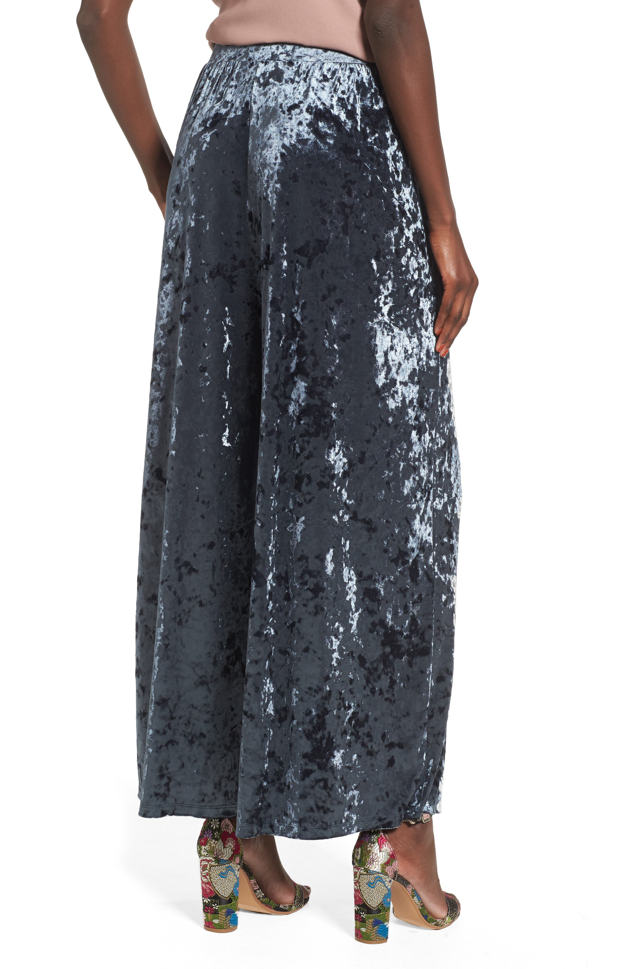Crop Wide Leg Velour Pants,                             Alternate thumbnail 2, color,                             Navy India Ink