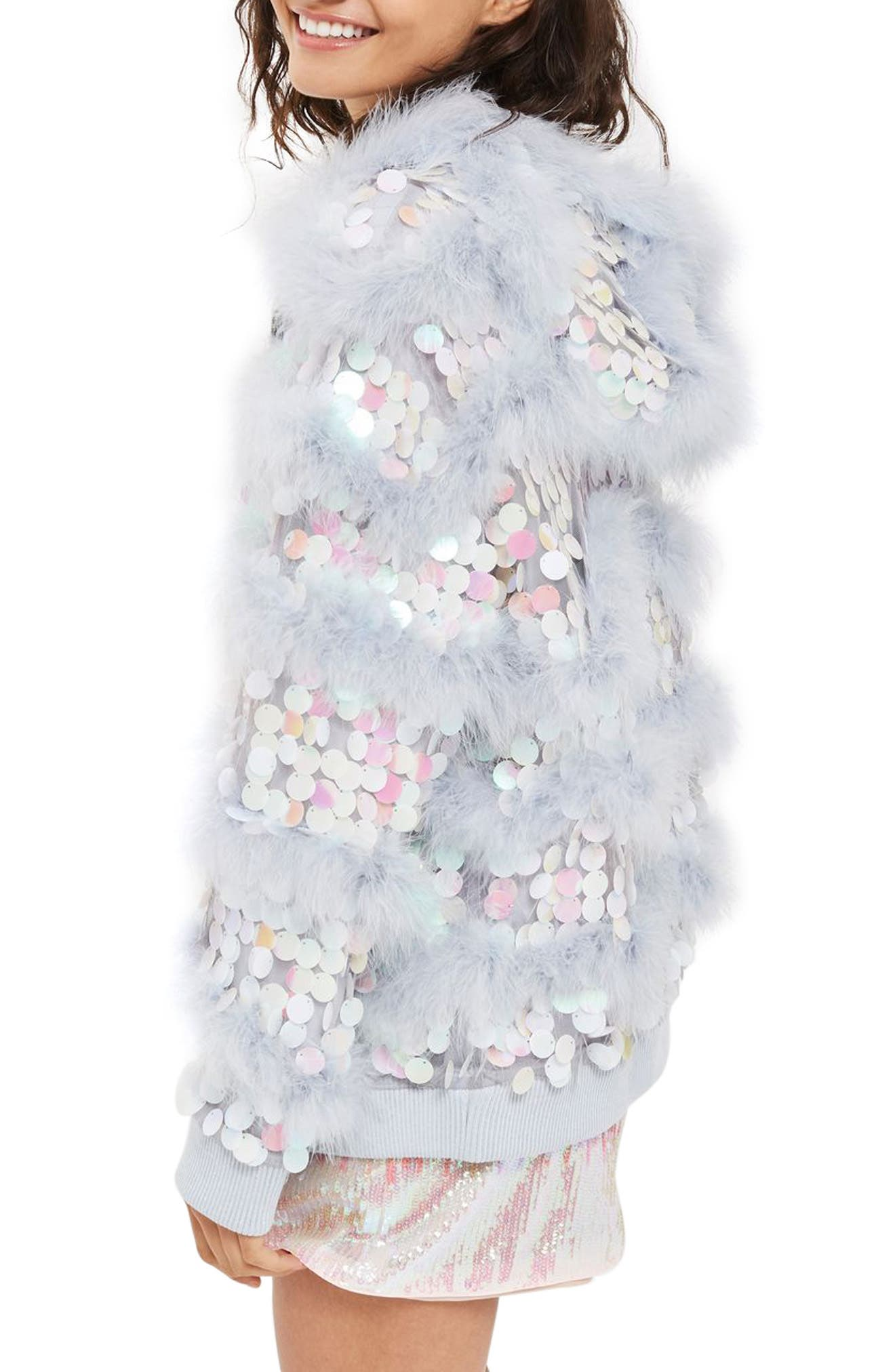 Madge Paillette & Feather Hooded Jacket,                             Alternate thumbnail 3, color,                             Lilac Multi