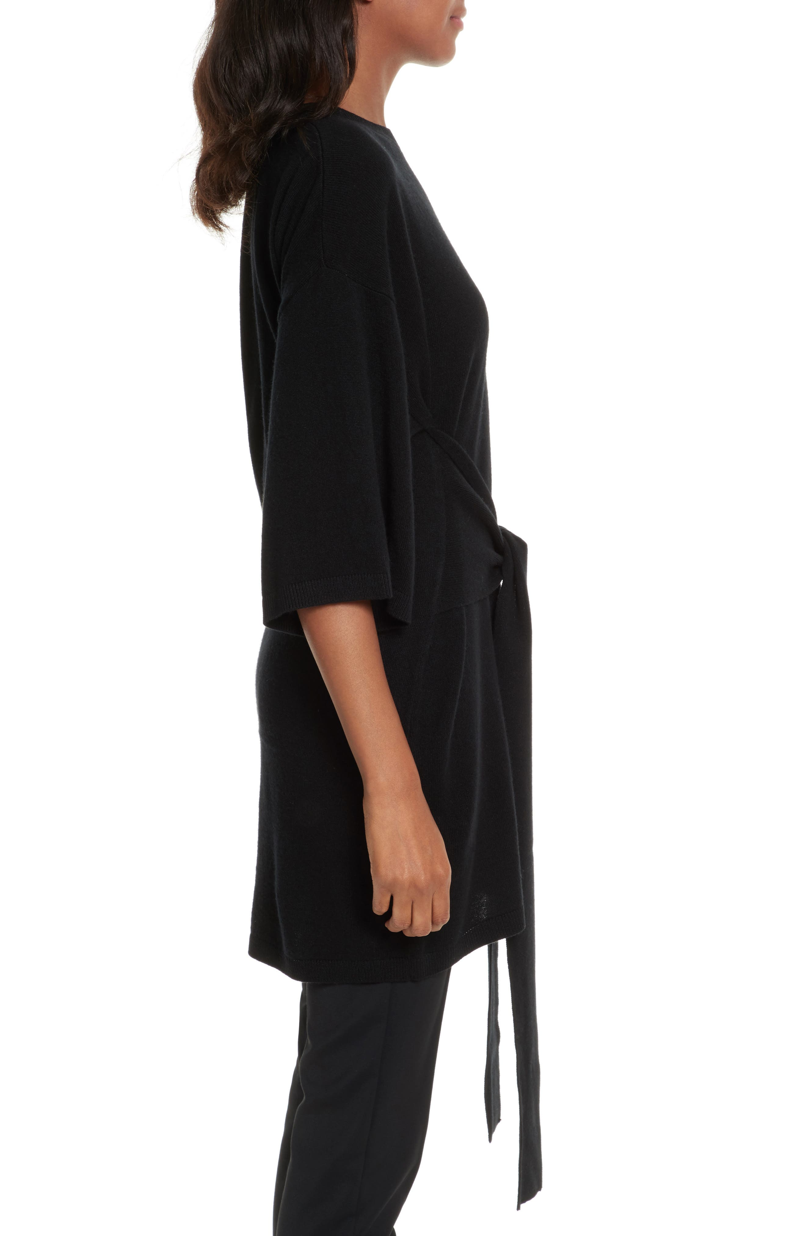 Olympy Tie Front Knit Tunic,                             Alternate thumbnail 3, color,                             Black