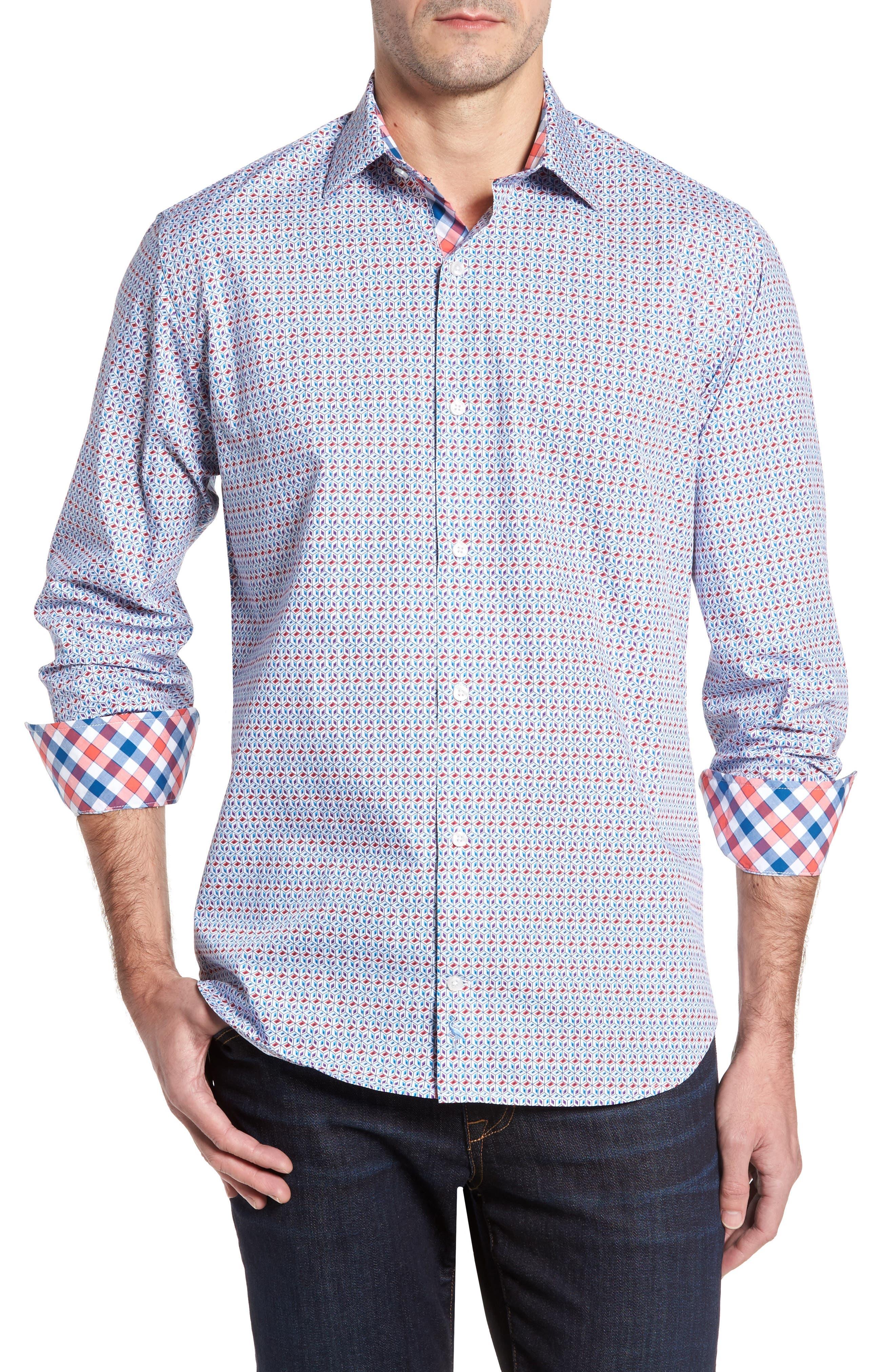 Angia Print Sport Shirt,                         Main,                         color, Blue