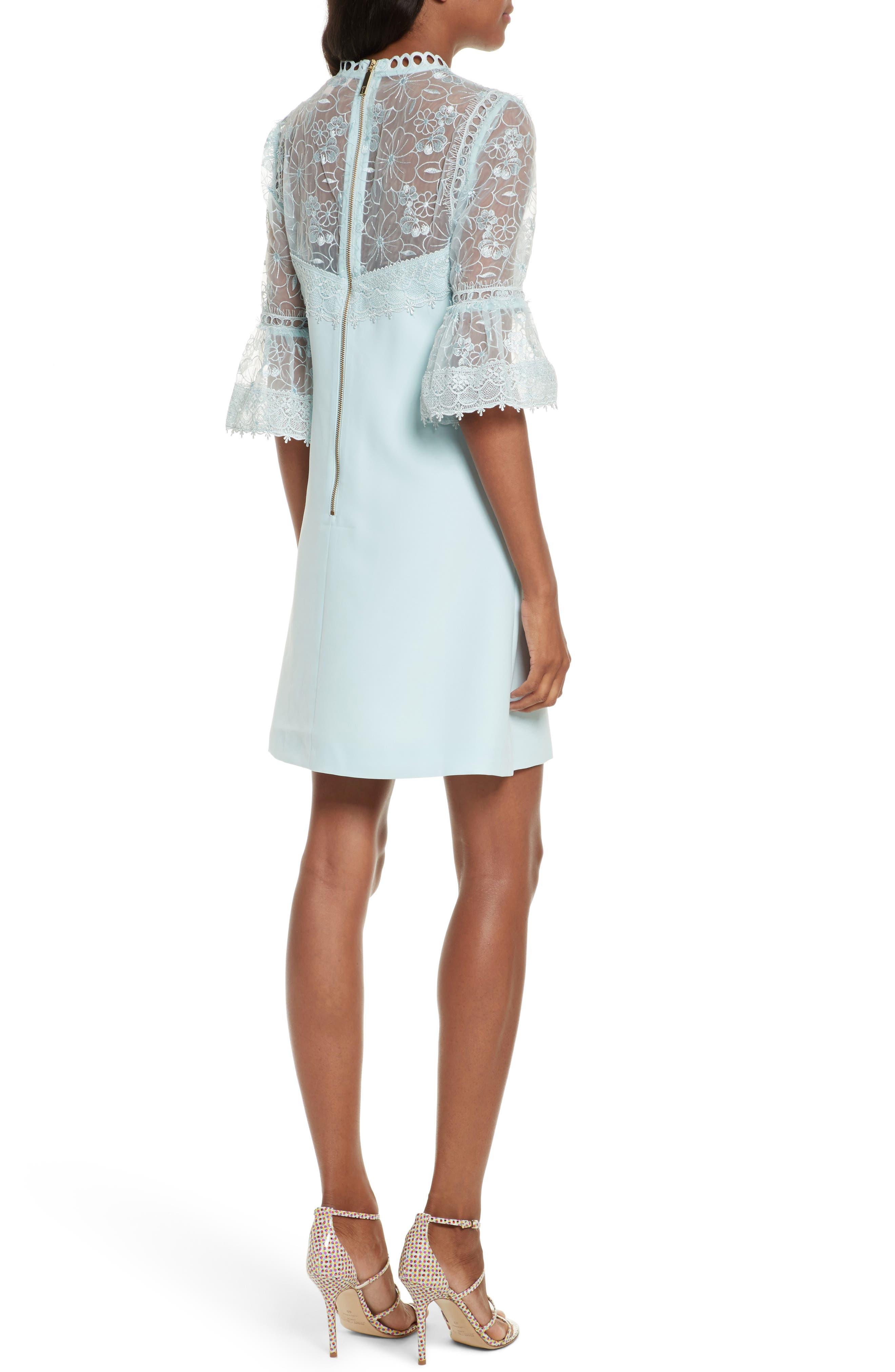 Raechal Lace Sleeve A-Line Dress,                             Alternate thumbnail 2, color,                             Pale Blue