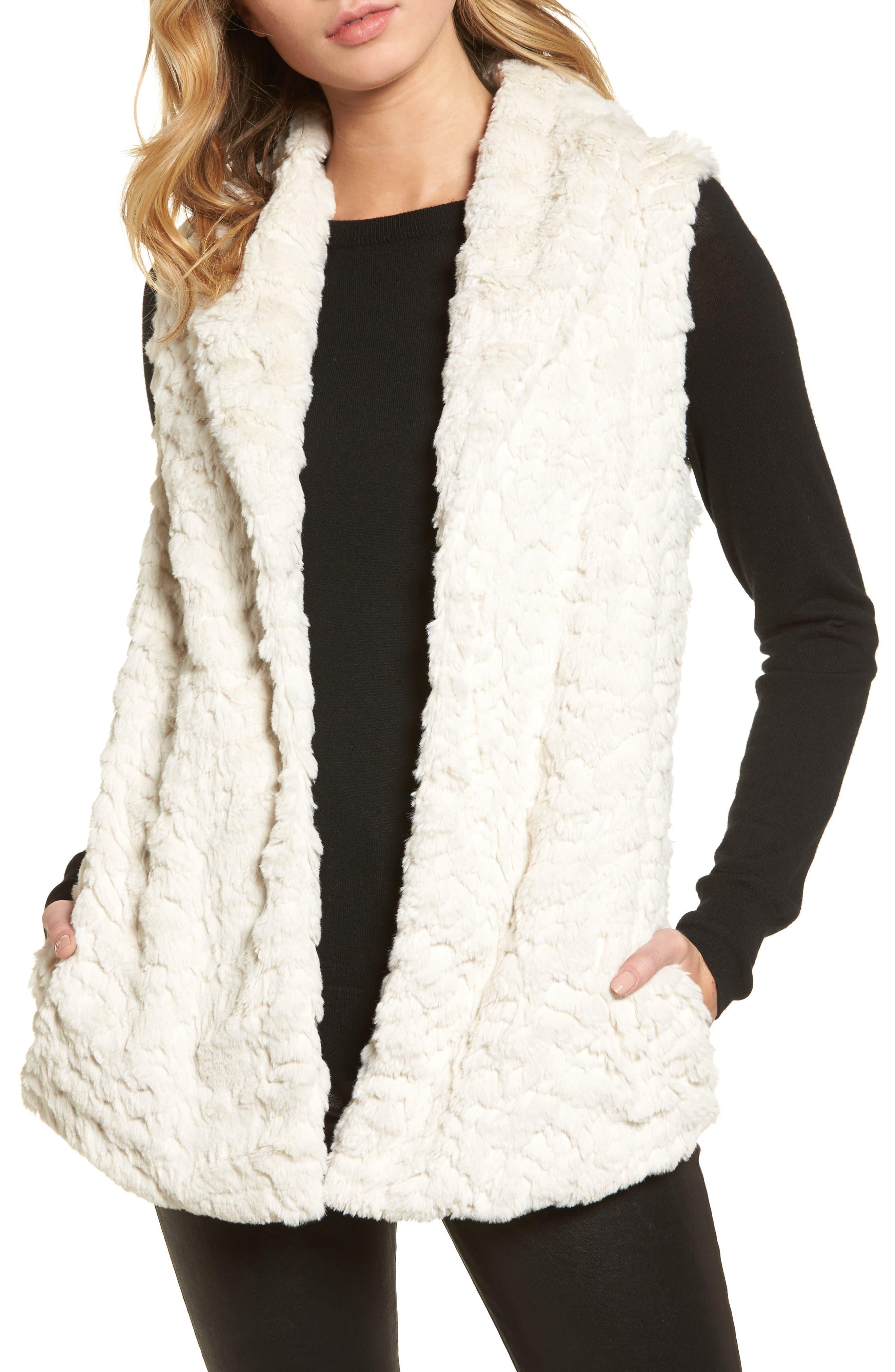 Silky Faux Fur Shawl Collar Vest,                         Main,                         color, White