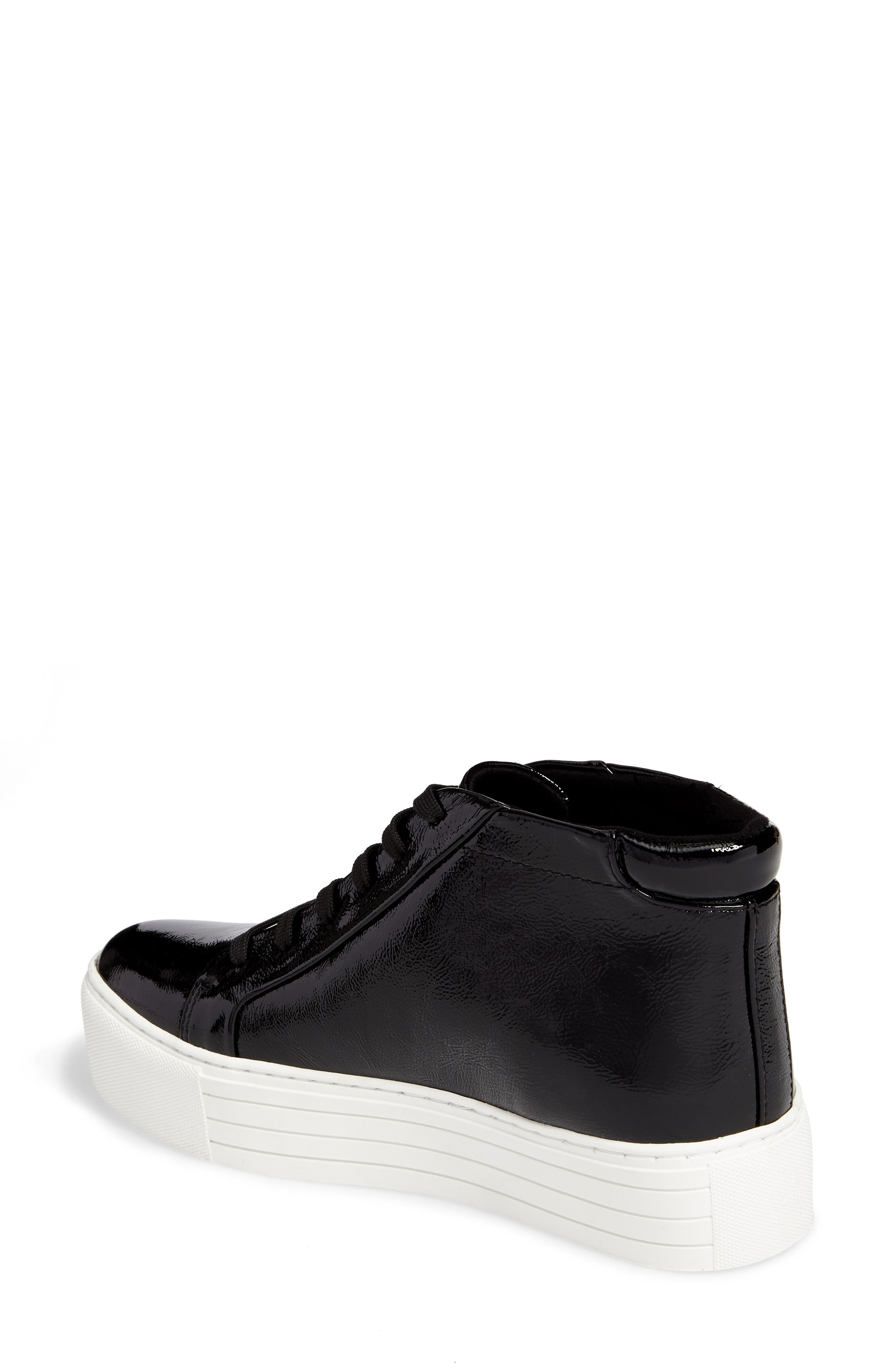 Janette High Top Platform Sneaker,                             Alternate thumbnail 2, color,                             Black Patent Leather