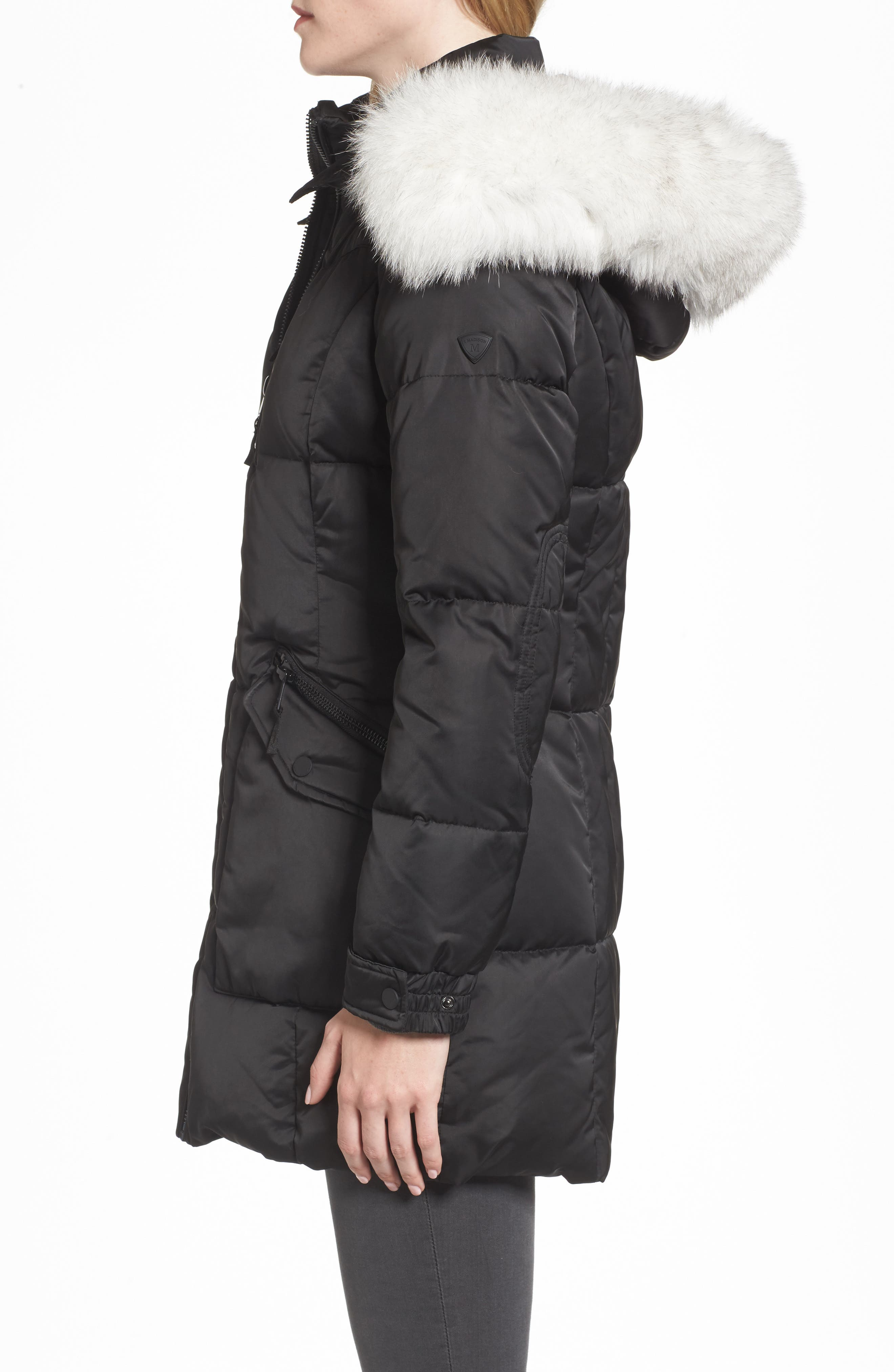 Puffer Jacket with Genuine Fox Fur Trim,                             Alternate thumbnail 3, color,                             Black