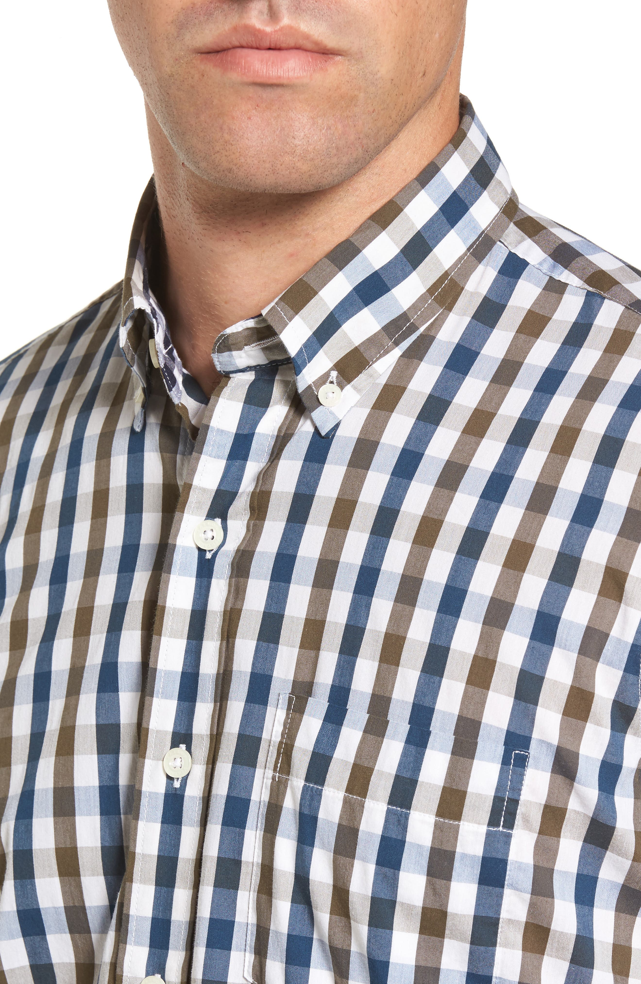 Regular Fit Performance Sport Shirt,                             Alternate thumbnail 4, color,                             Teal/ Army Tricolor Gingham