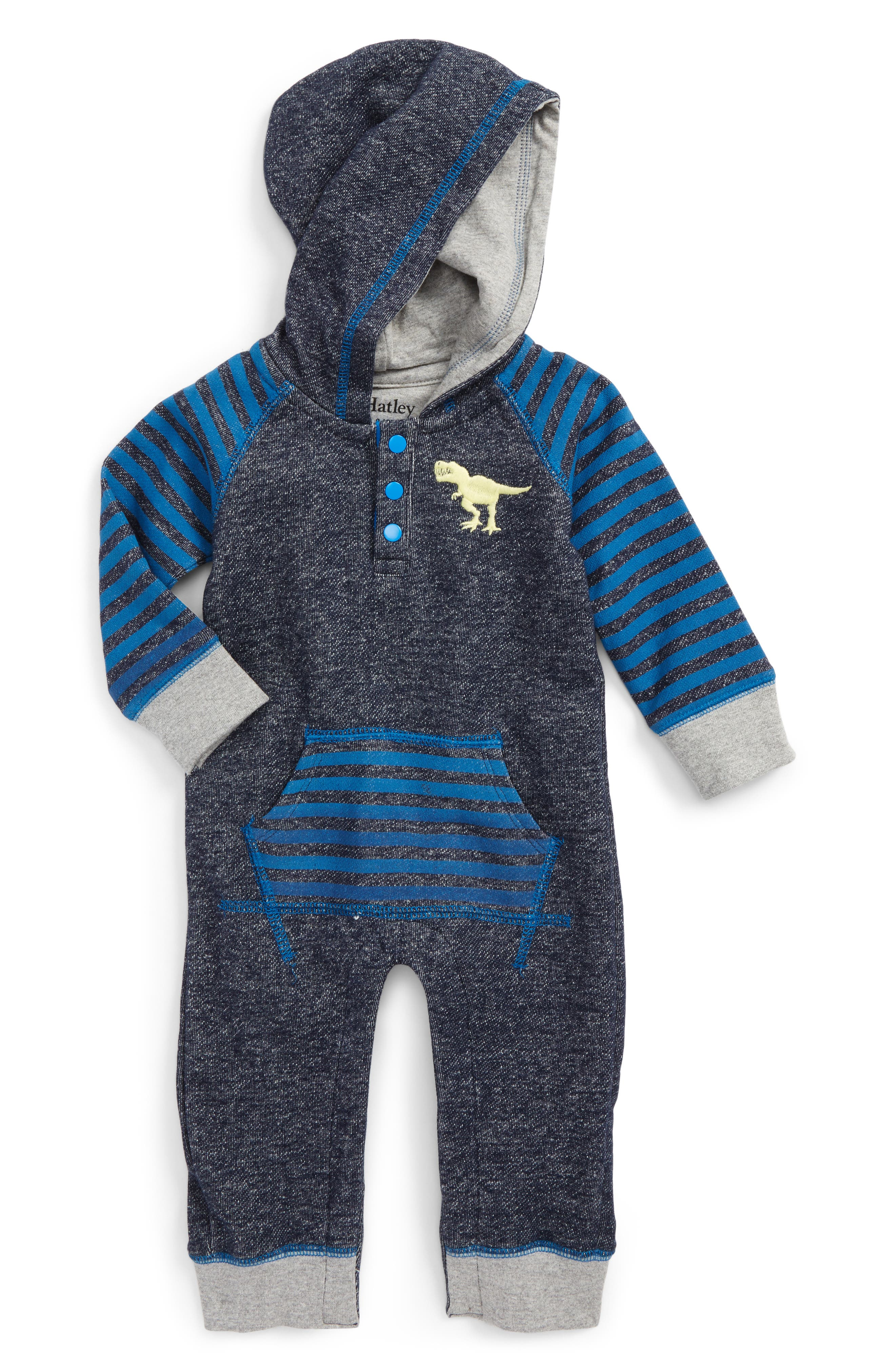 Hately Hooded Romper,                         Main,                         color, Roaring Dino