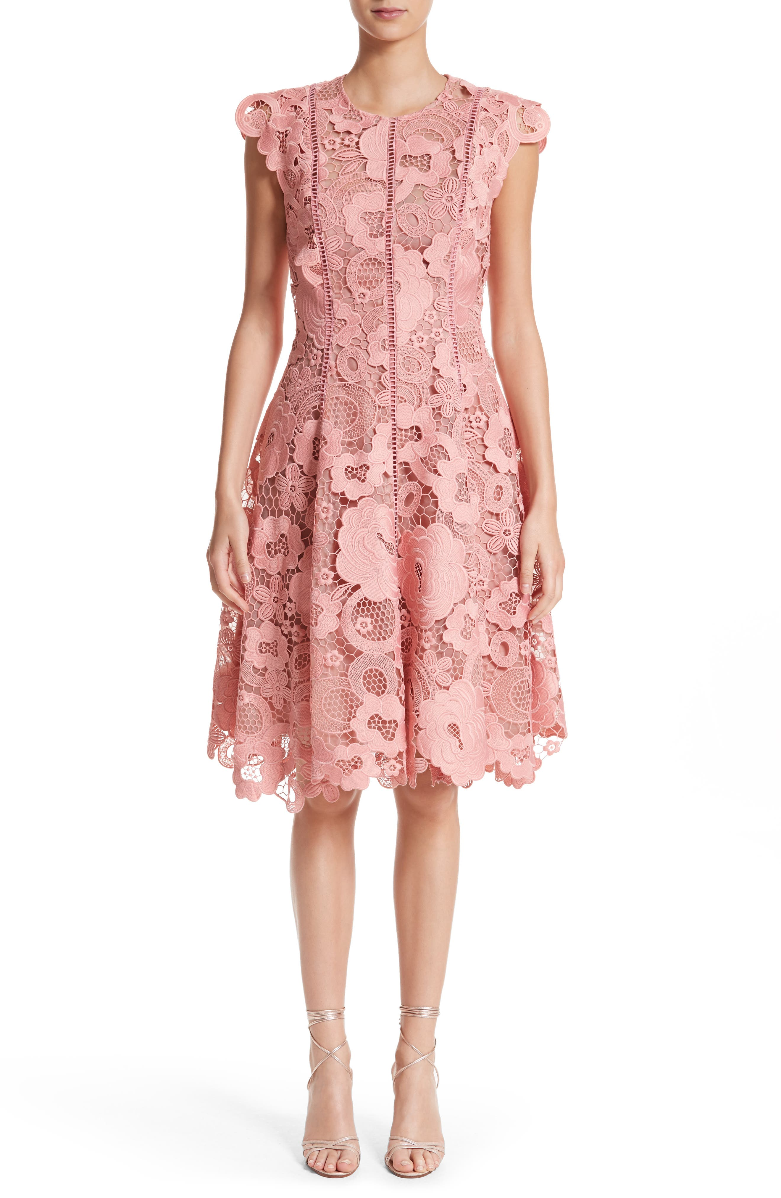 Seamed Lace Fit & Flare Dress,                             Main thumbnail 1, color,                             Peony