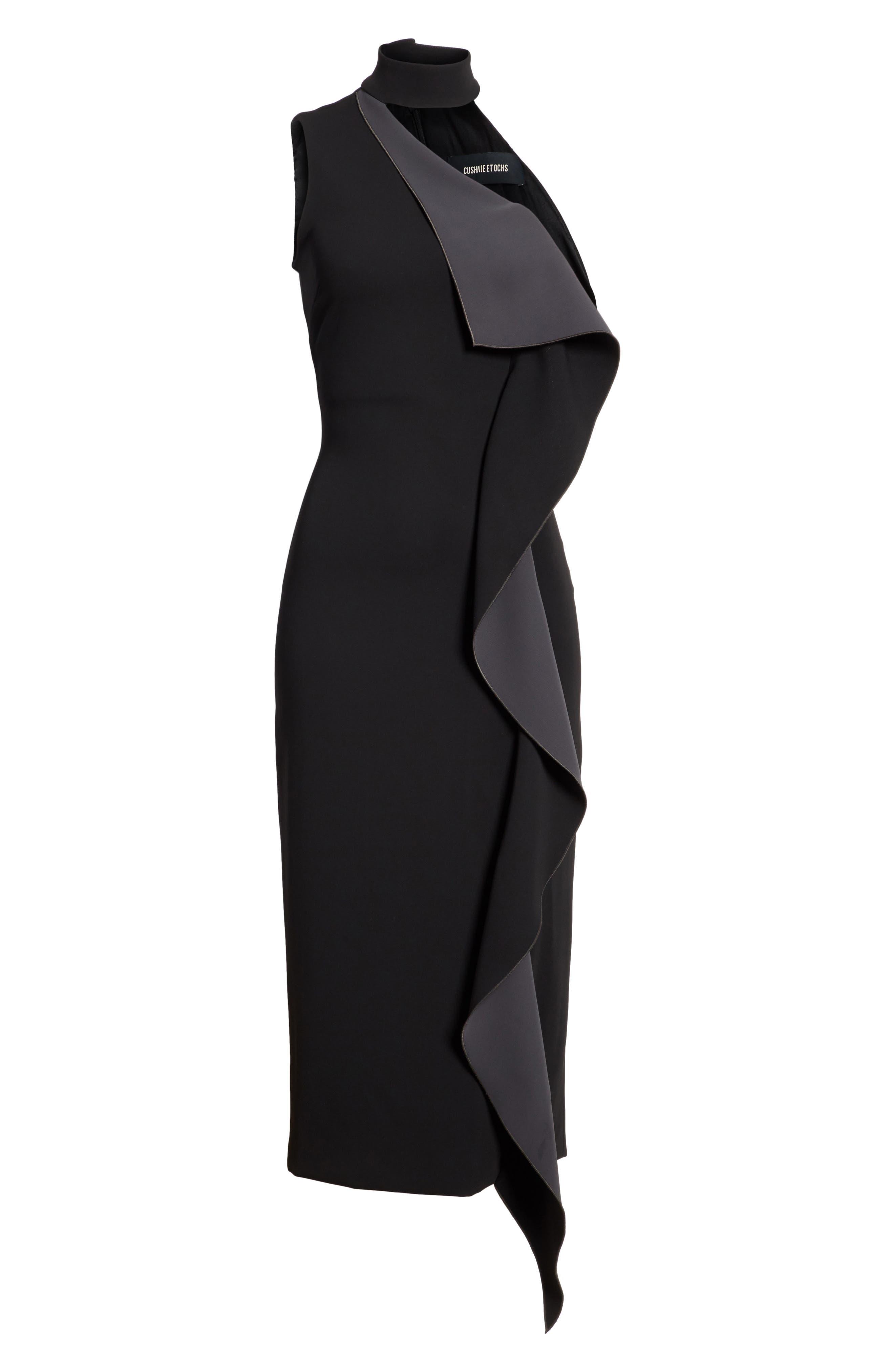 Elettra Ruffle Front Bonded Crepe Halter Dress,                             Alternate thumbnail 7, color,                             Black/ Graphite