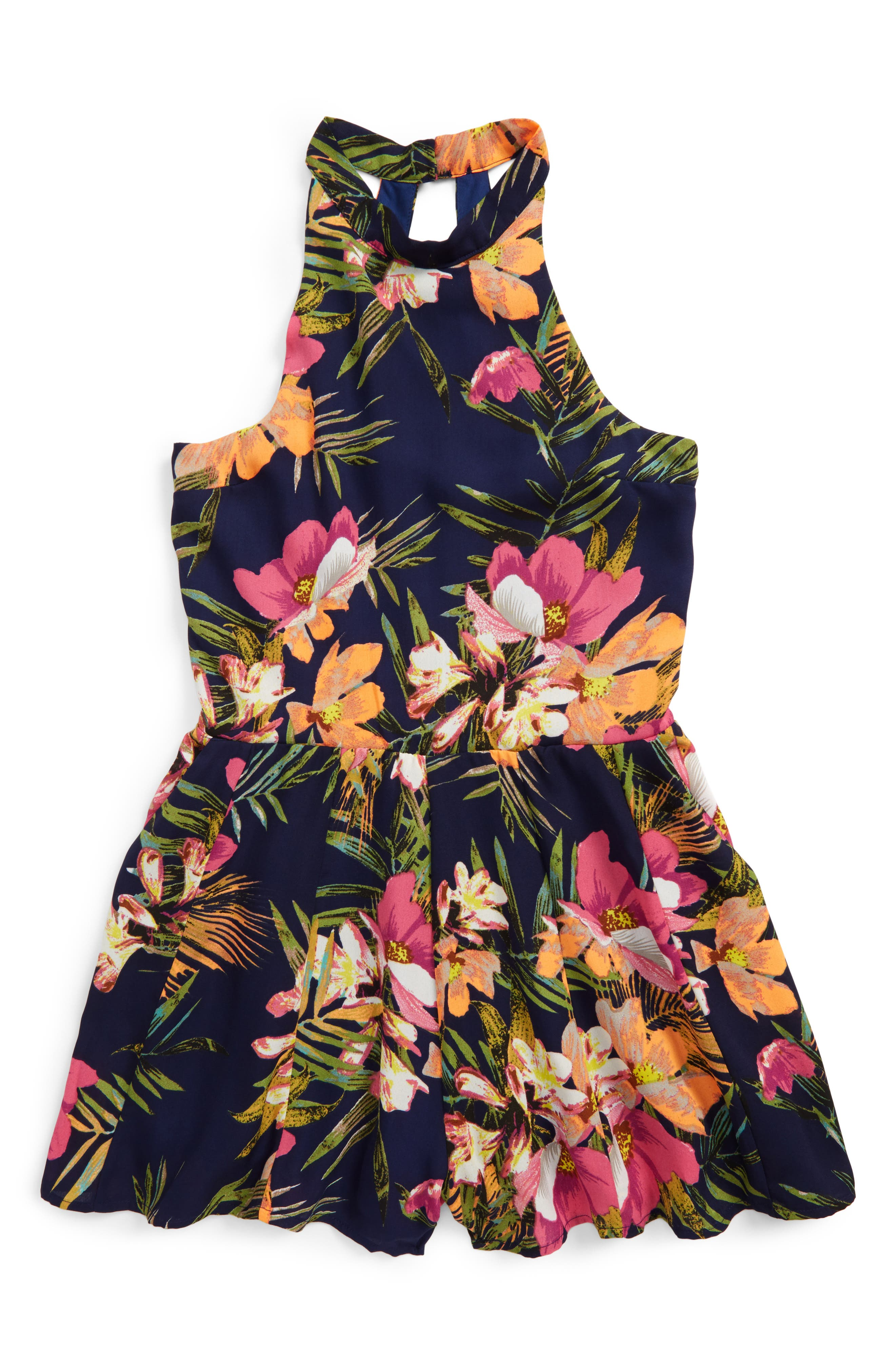 Miss Behave Safira Tropical Print Romper (Big Girls)