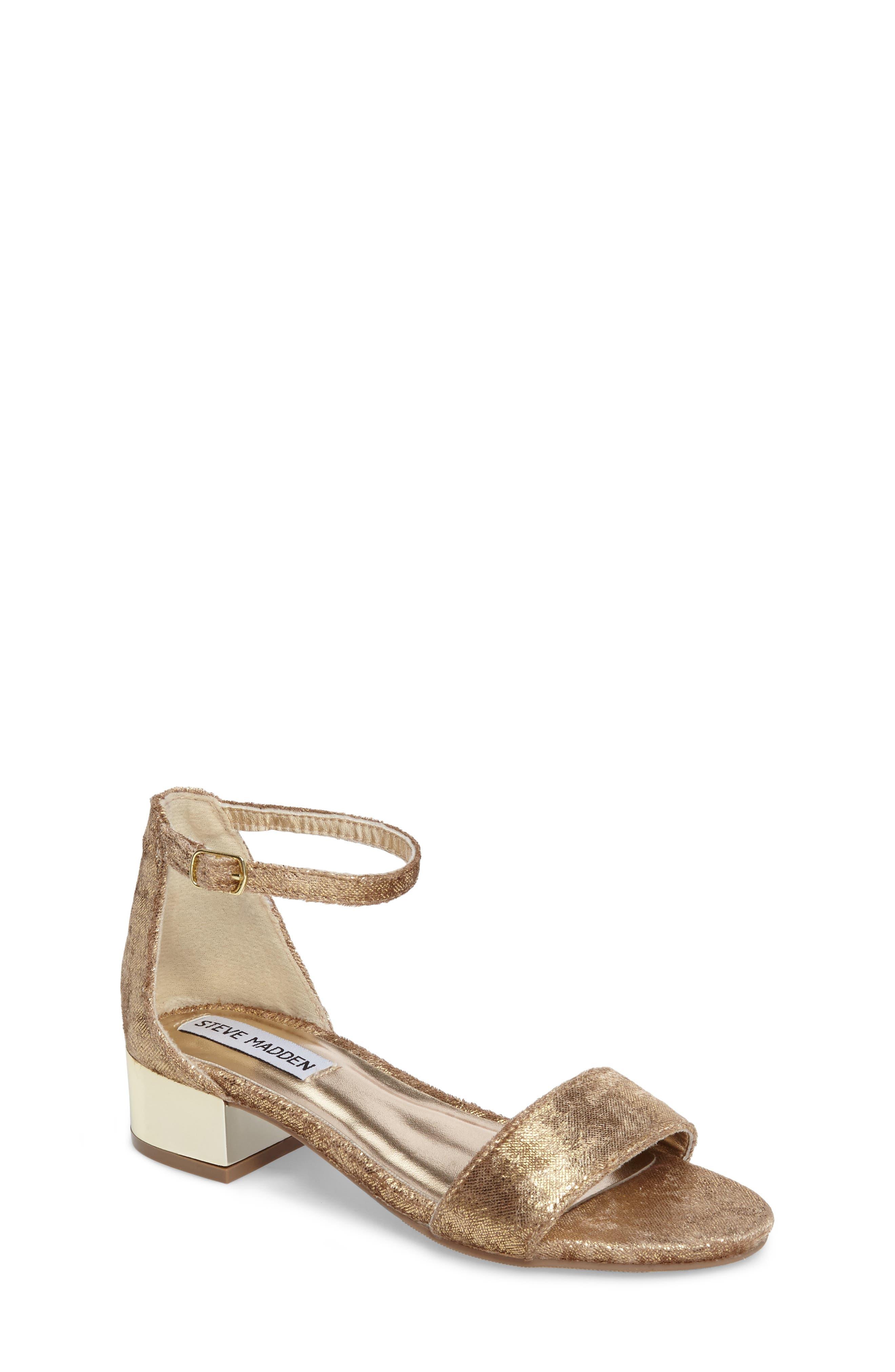 Jirene Metallic Sandal,                             Main thumbnail 1, color,                             Gold Crushed Velvet