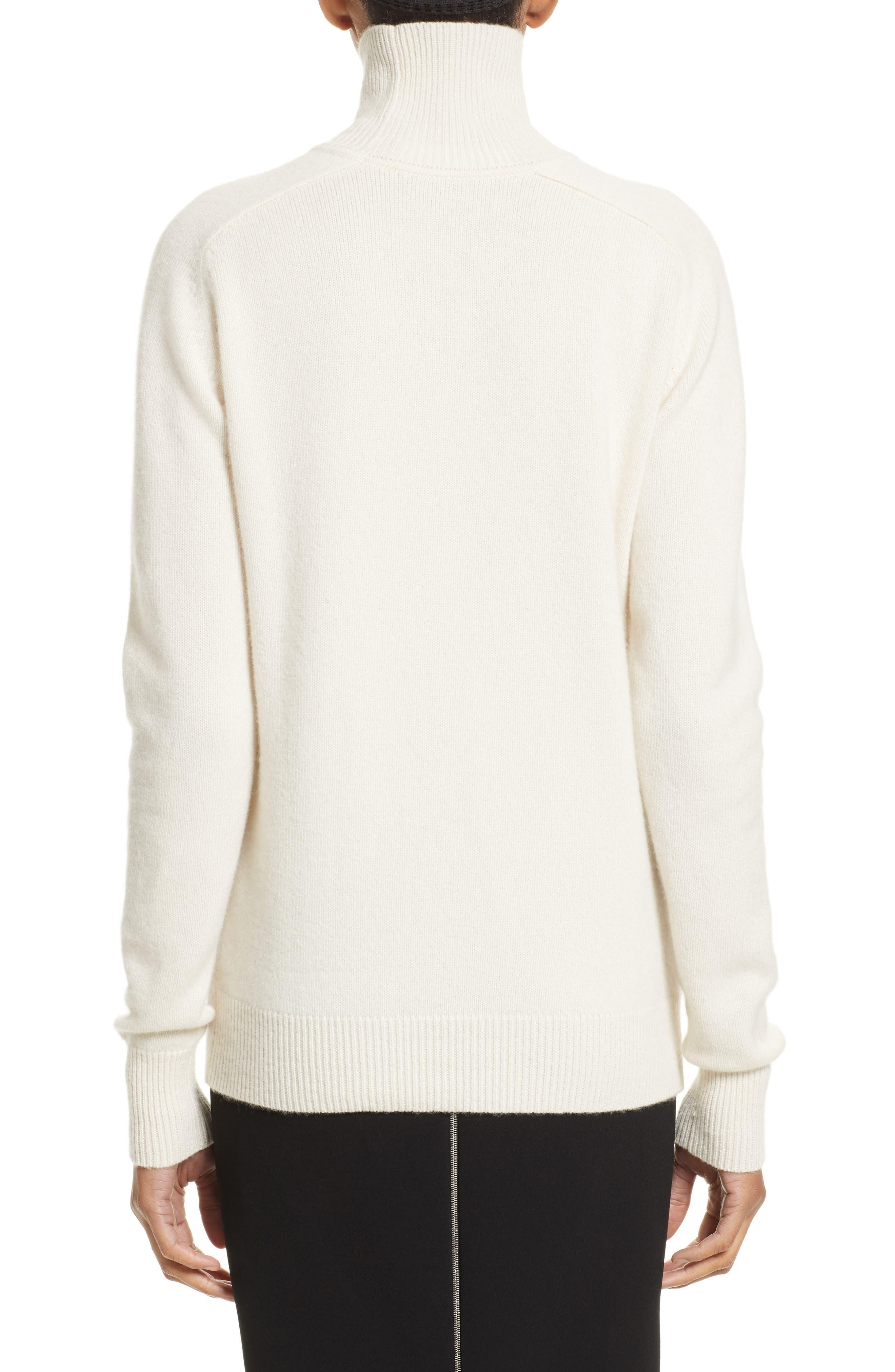 Cashmere Turtleneck Sweater,                             Alternate thumbnail 3, color,                             Vanilla