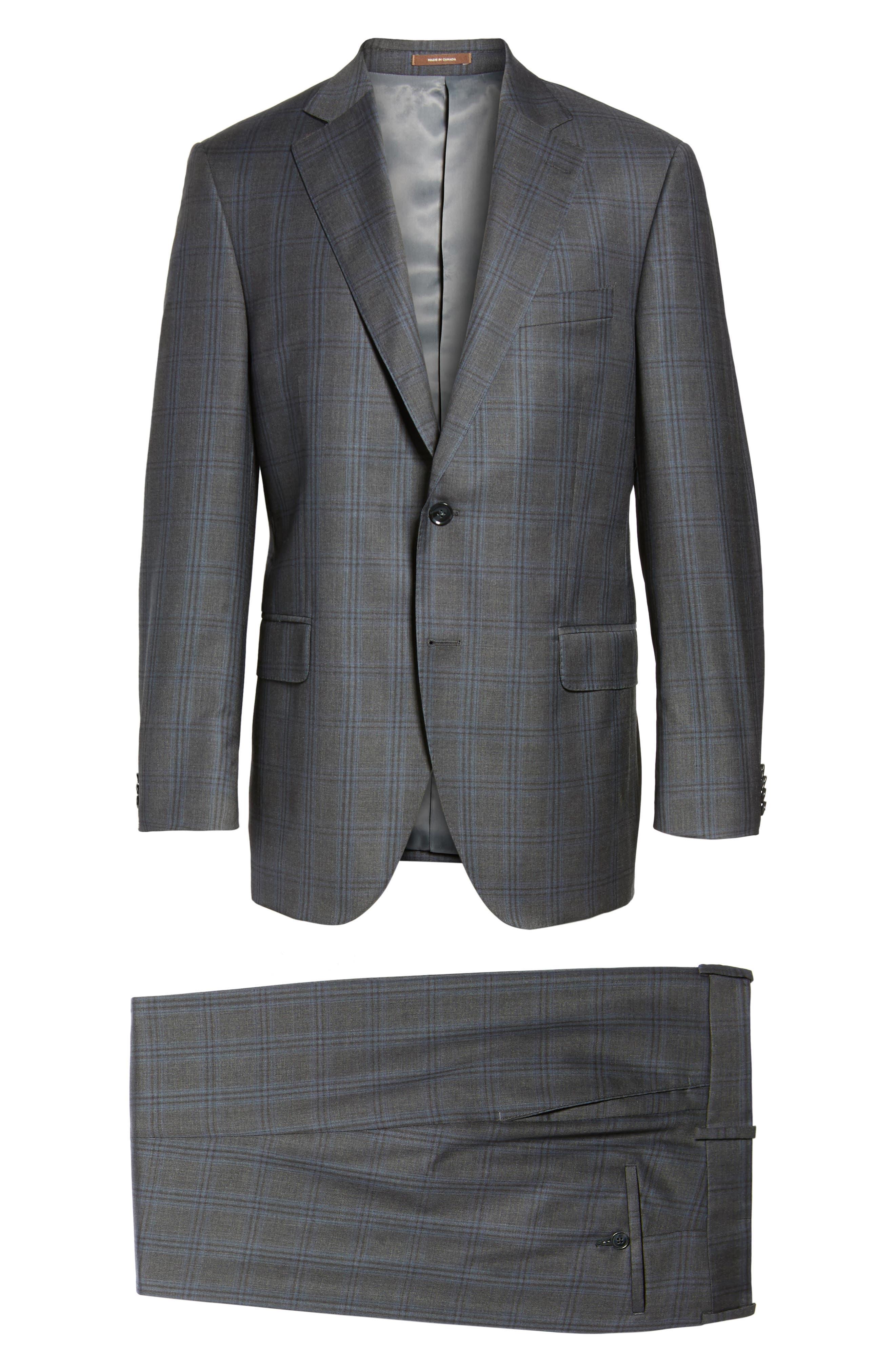 Flynn Classic Fit Plaid Wool Suit,                             Alternate thumbnail 8, color,                             Grey