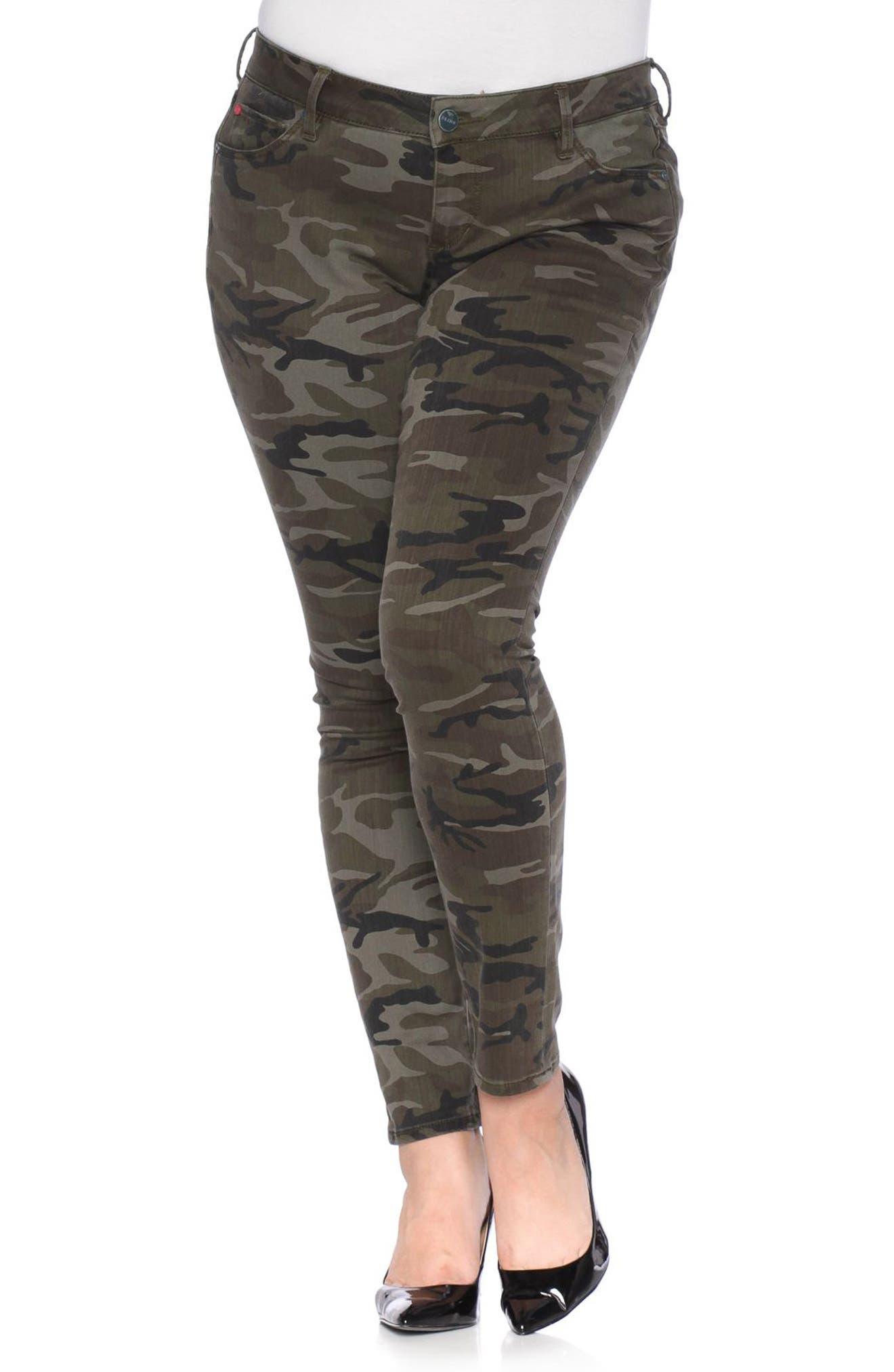 SLINK Jeans Camo Print Skinny Jeans (Plus Size)