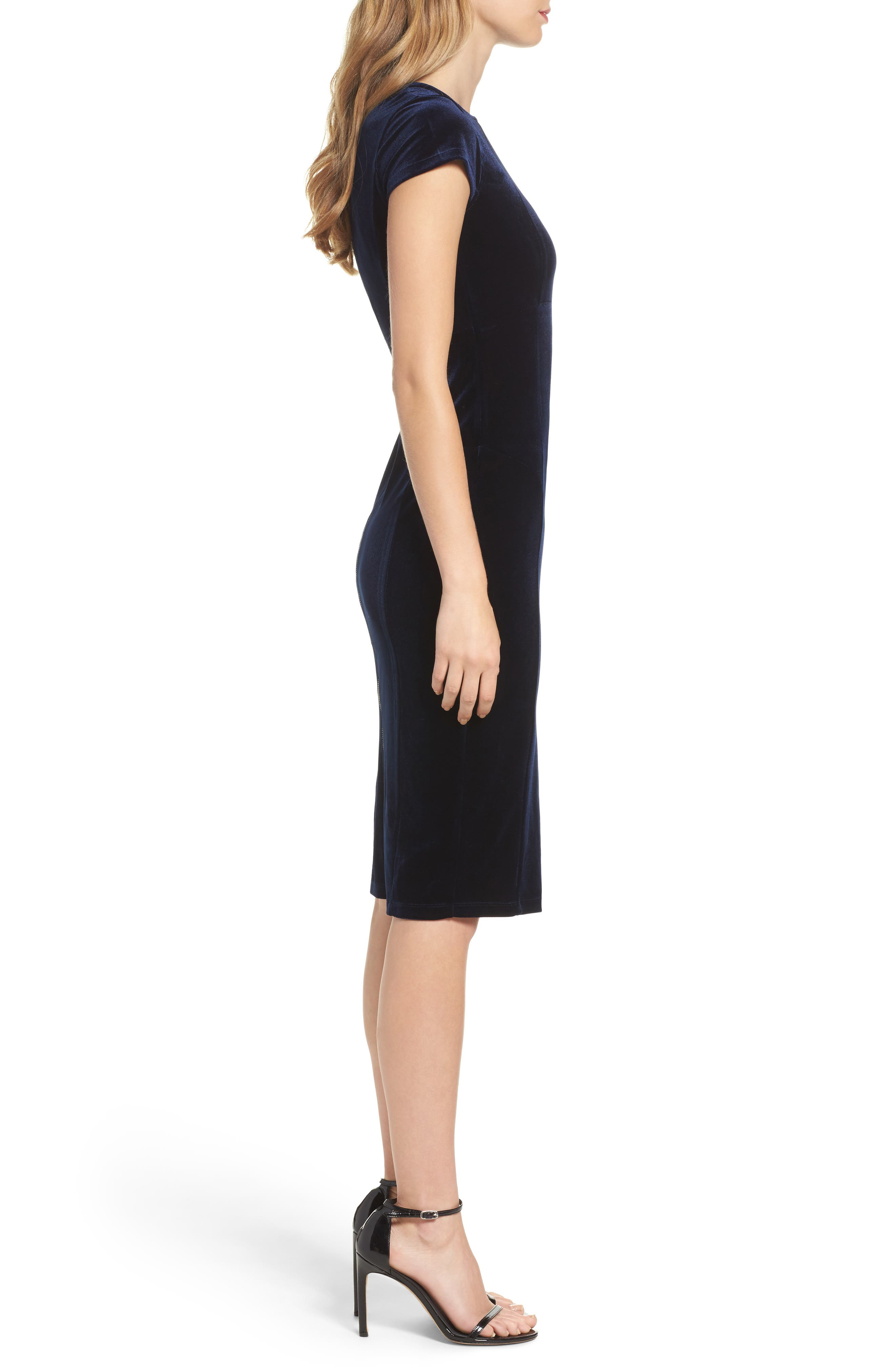 Vista Velvet Midi Dress,                             Alternate thumbnail 3, color,                             Dark Navy