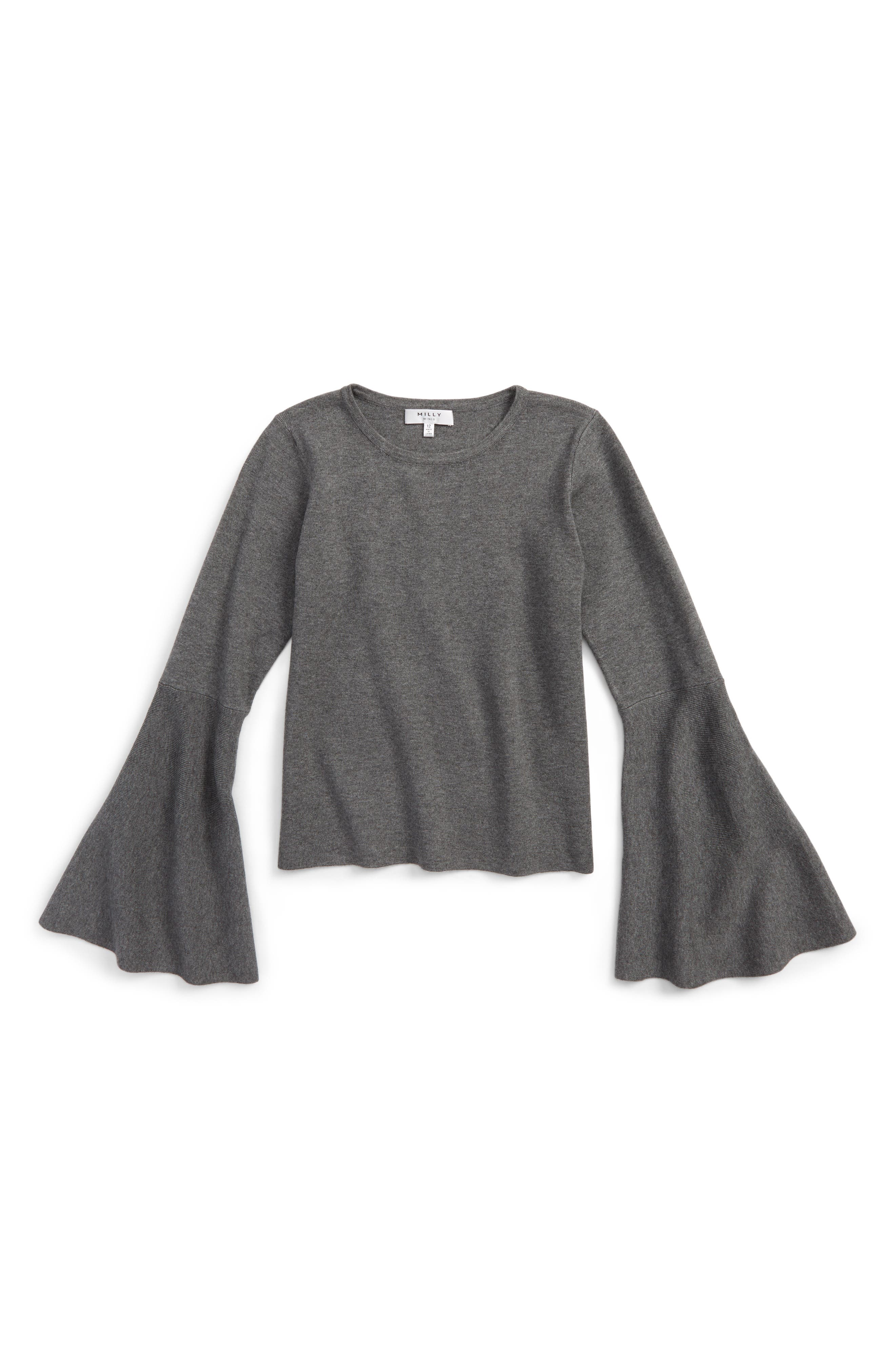 Bell Sleeve Top,                         Main,                         color, Grey