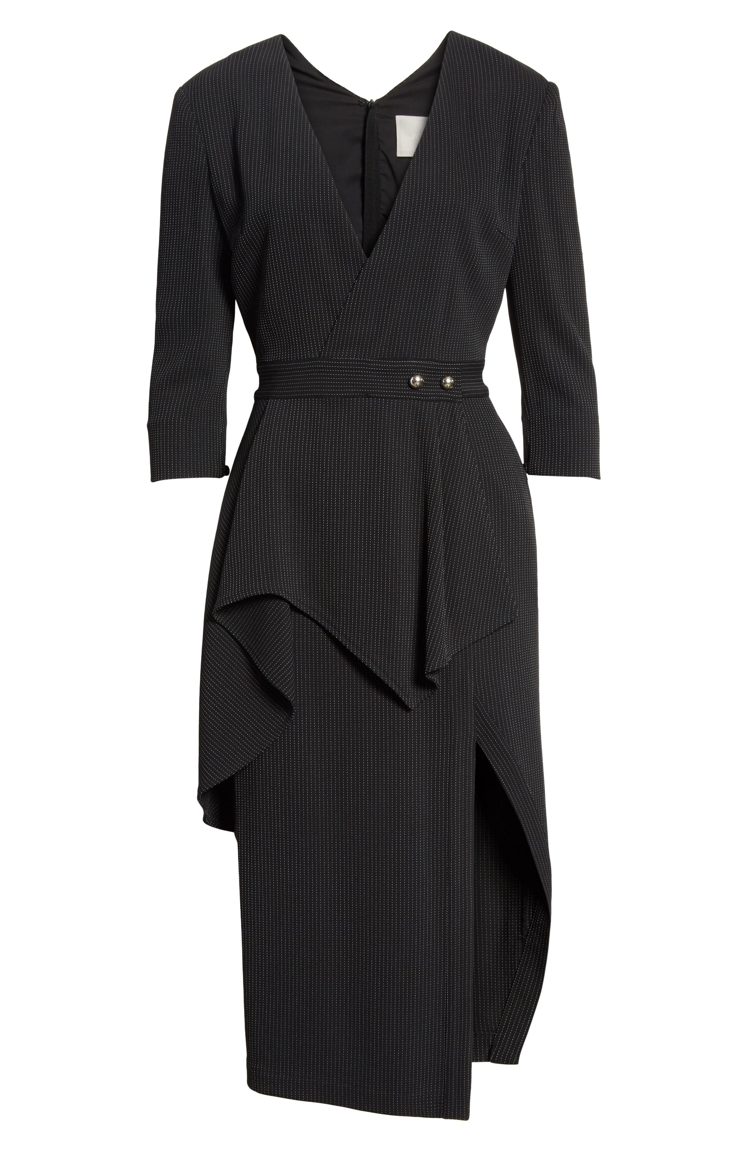Pinstripe Jersey Sheath Dress,                             Alternate thumbnail 7, color,                             Black / Chalk