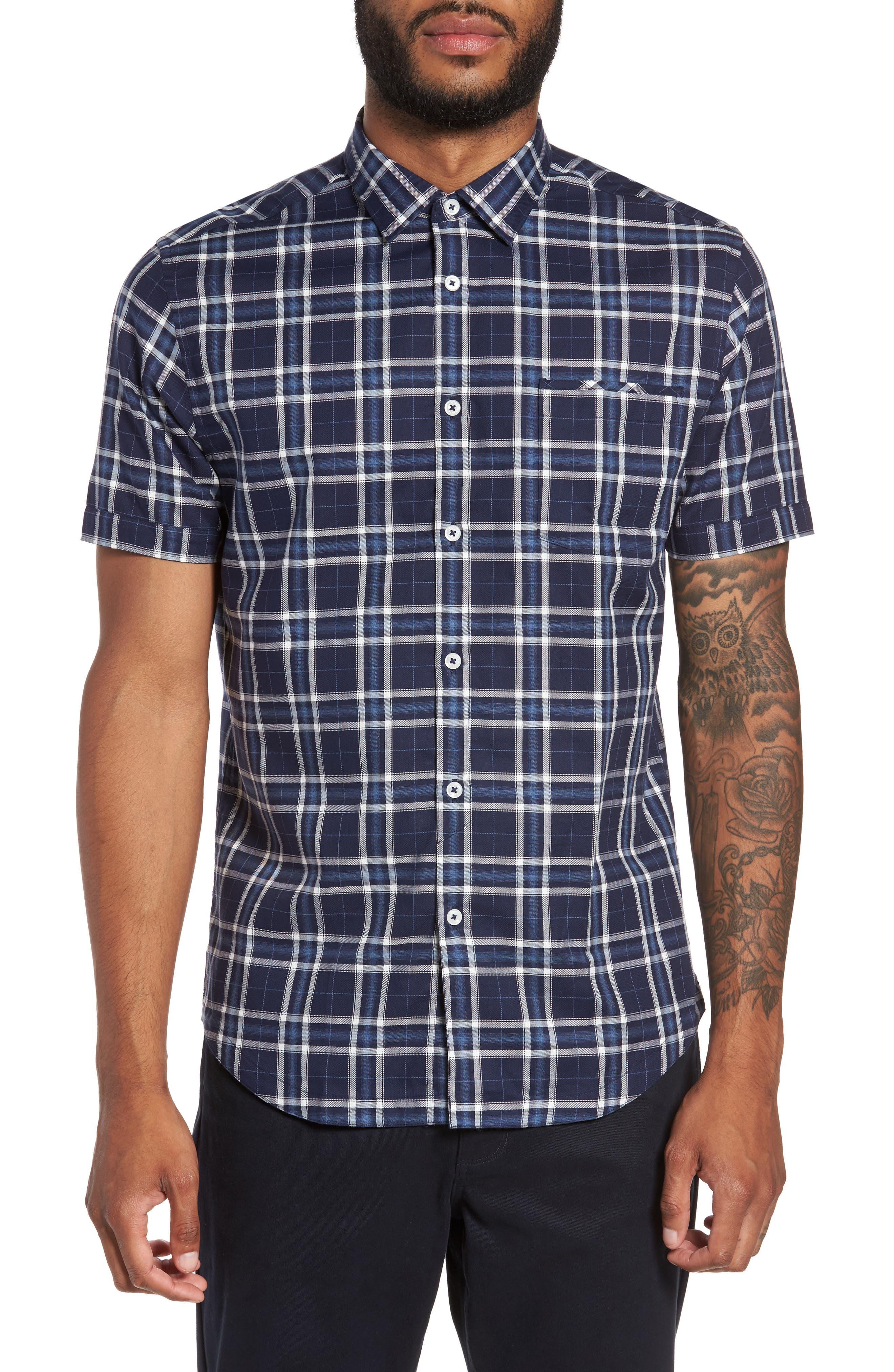 Slim Fit Plaid Sport Shirt,                         Main,                         color, Navy