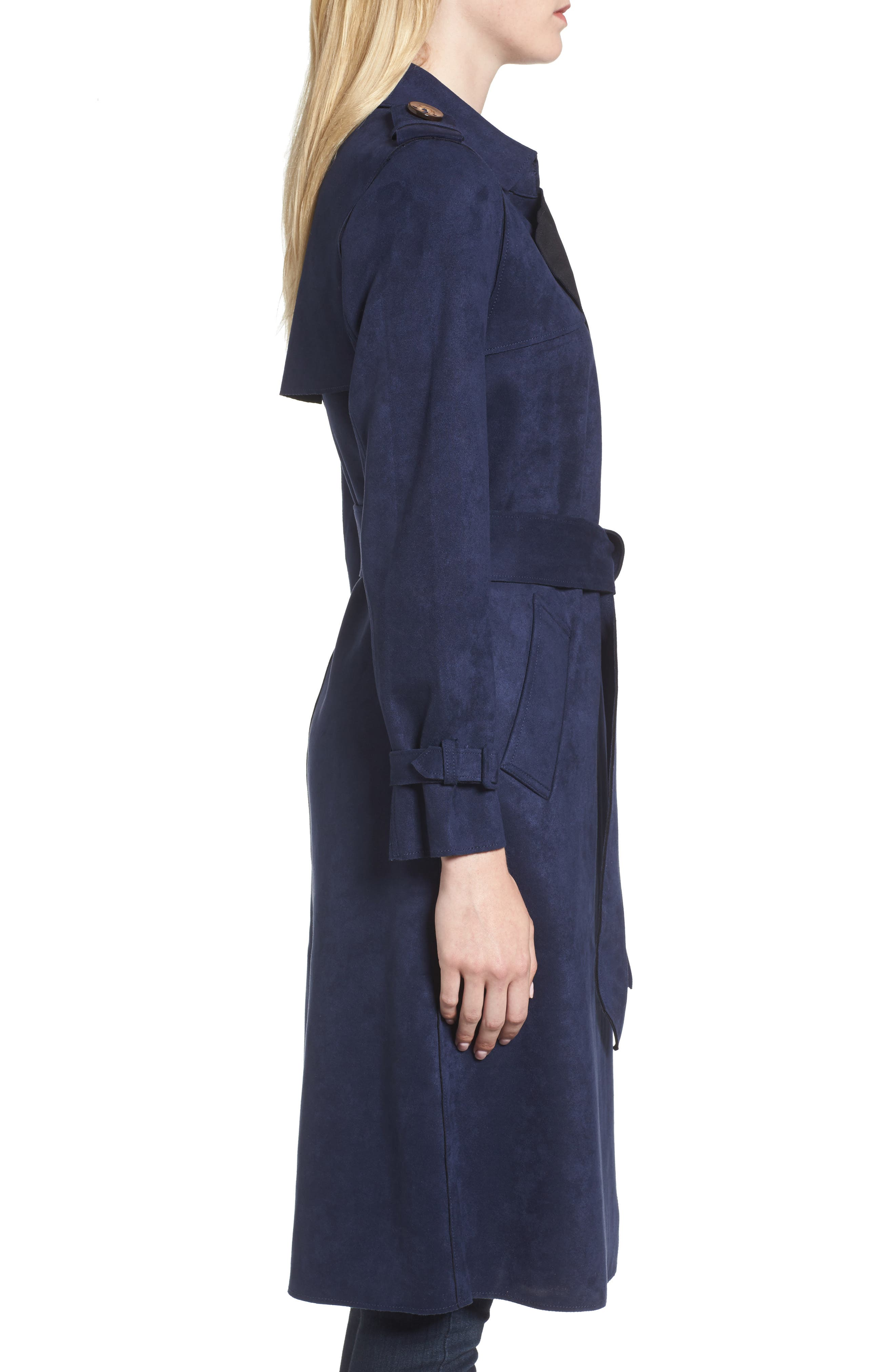 Alternate Image 3  - Love Token Faux Suede Long Trench Coat
