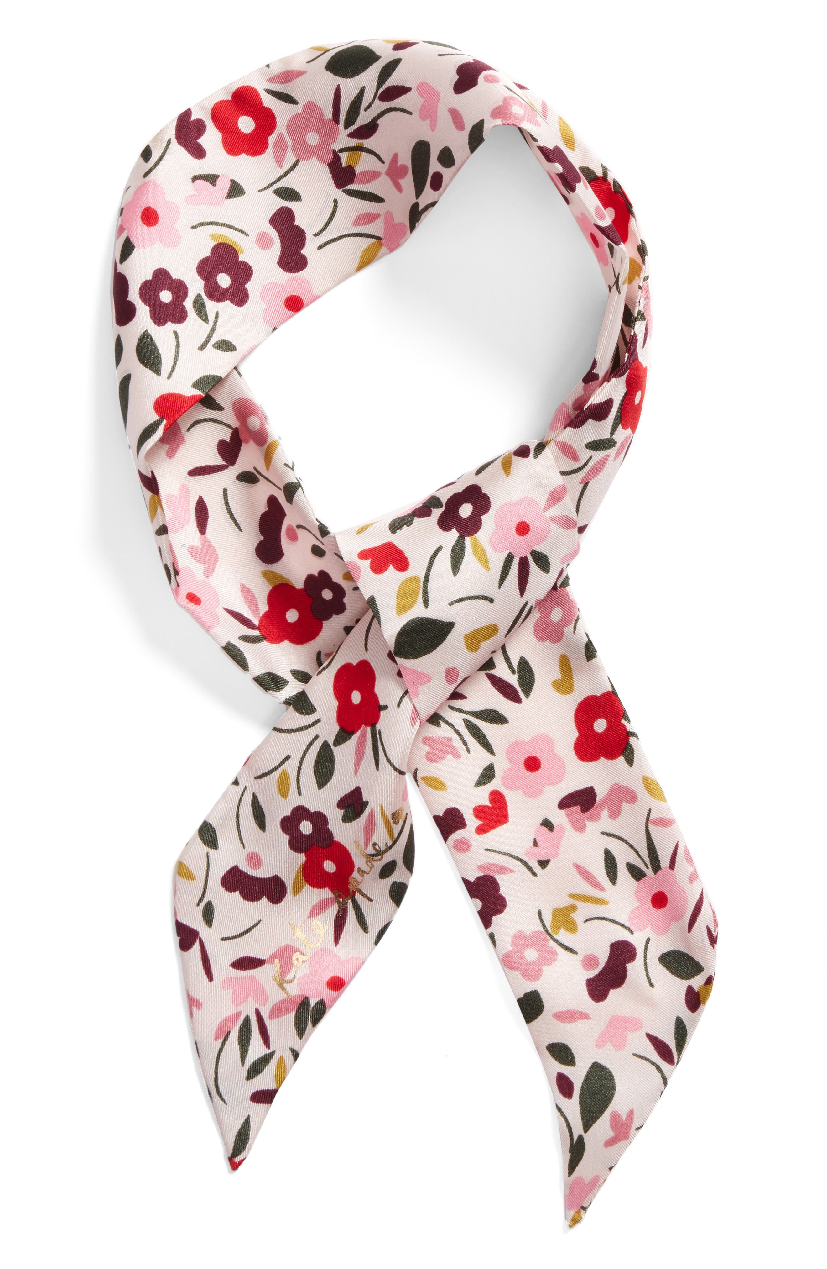 bohemian floral silk skinny scarf,                             Alternate thumbnail 3, color,                             Rose Dew