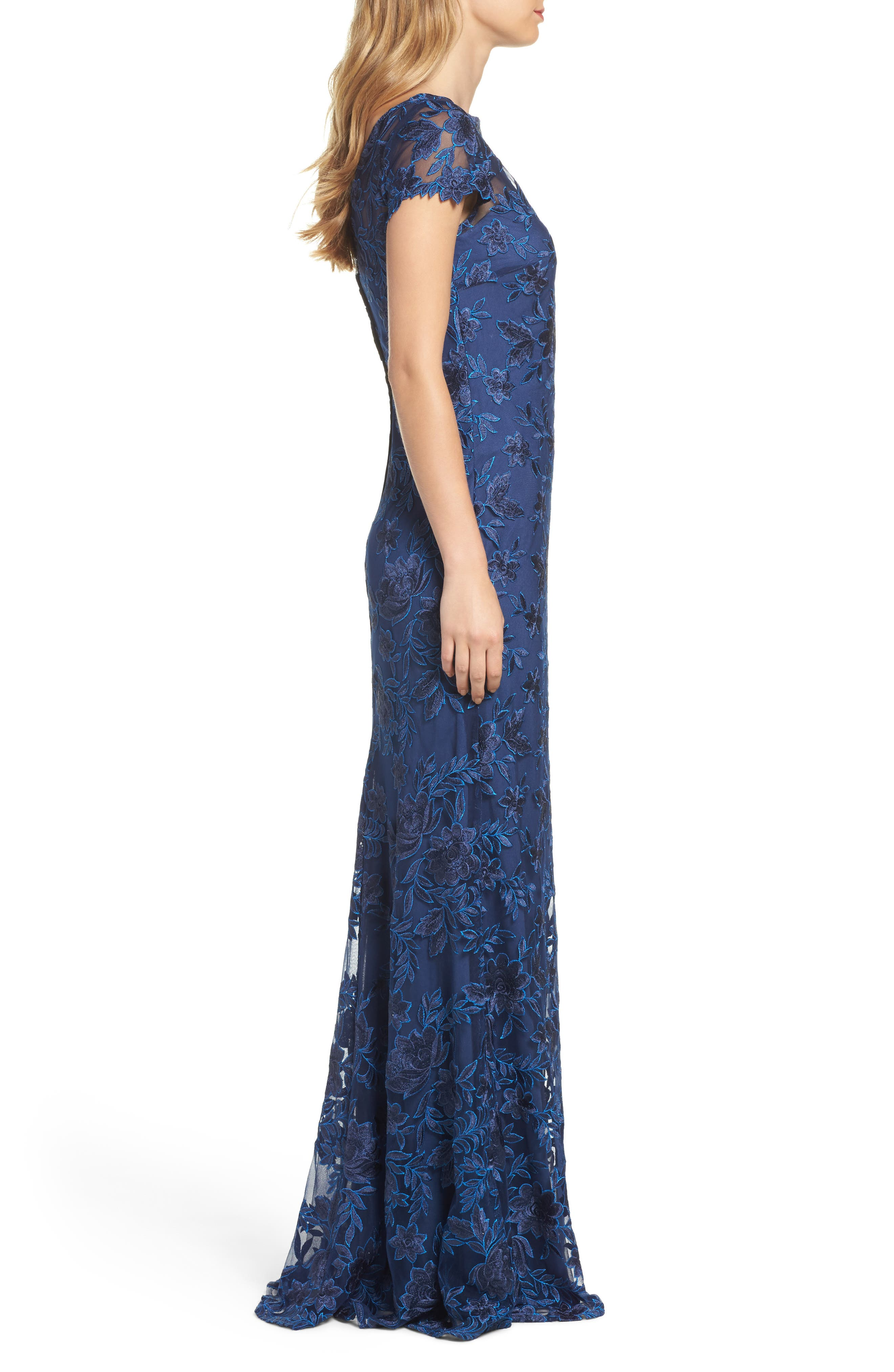 Lace Overlay Gown,                             Alternate thumbnail 3, color,                             Navy
