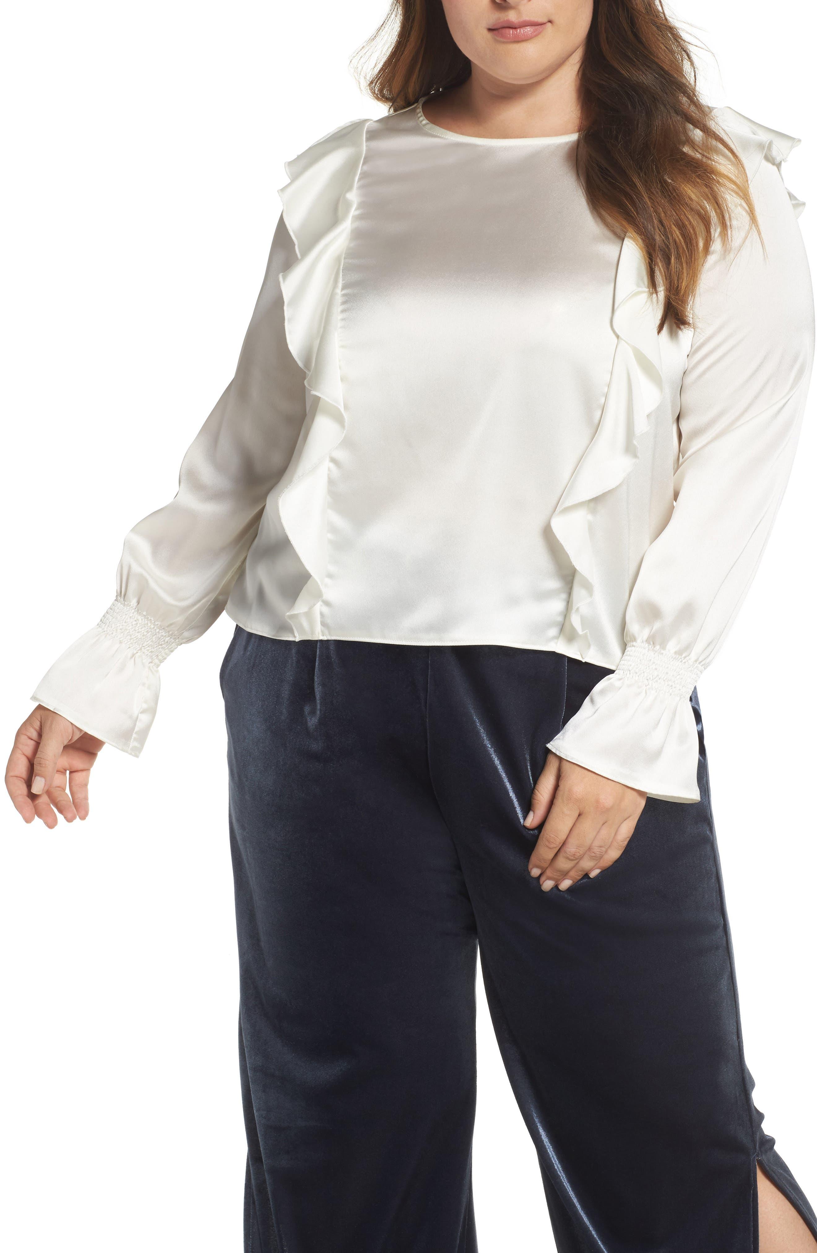 Main Image - ELVI Satin Ruffle Top (Plus Size)