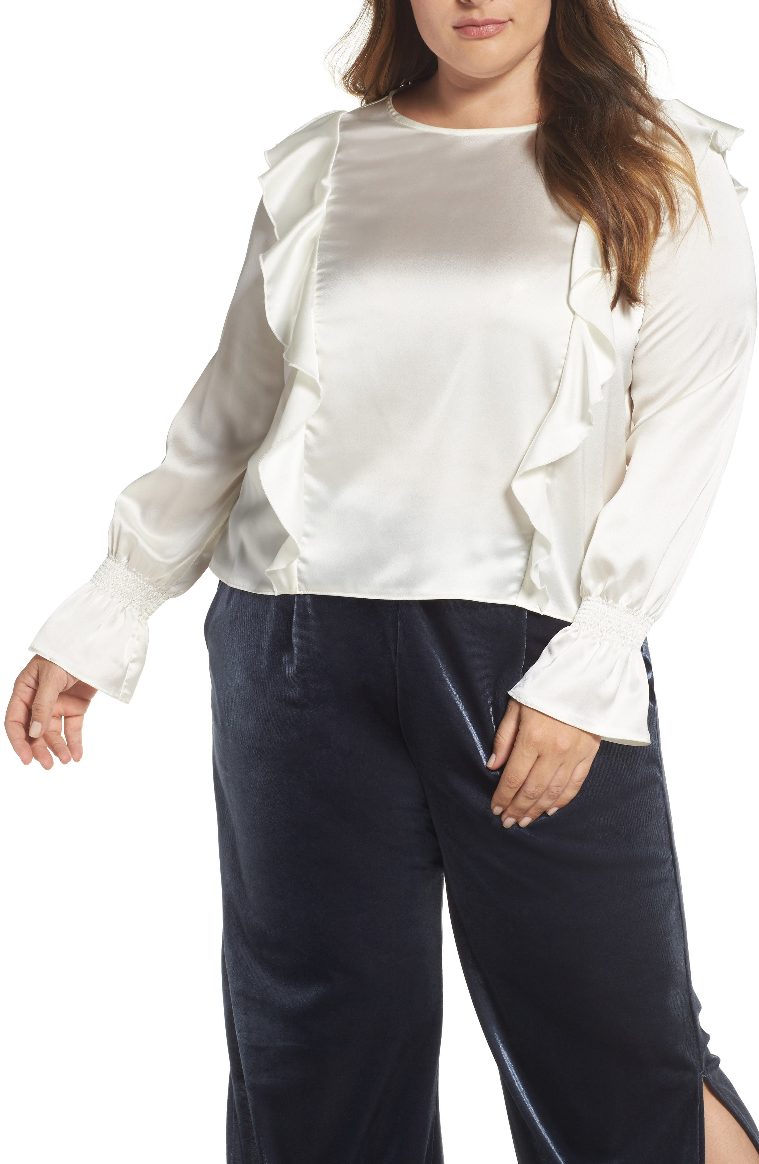 ELVI Satin Ruffle Top (Plus Size)
