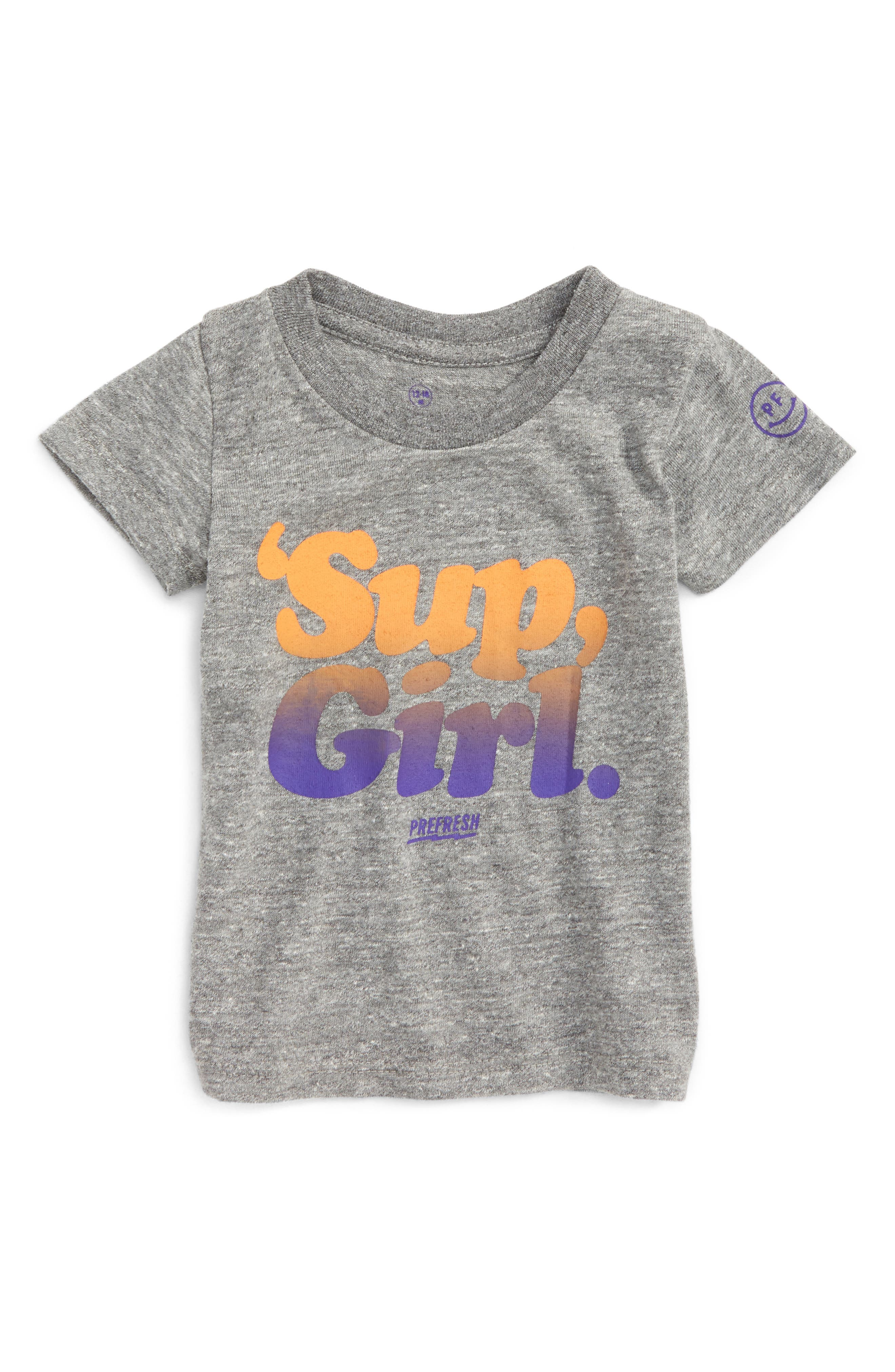 'Sup, Girl Graphic T-Shirt,                             Main thumbnail 1, color,                             Heather Grey