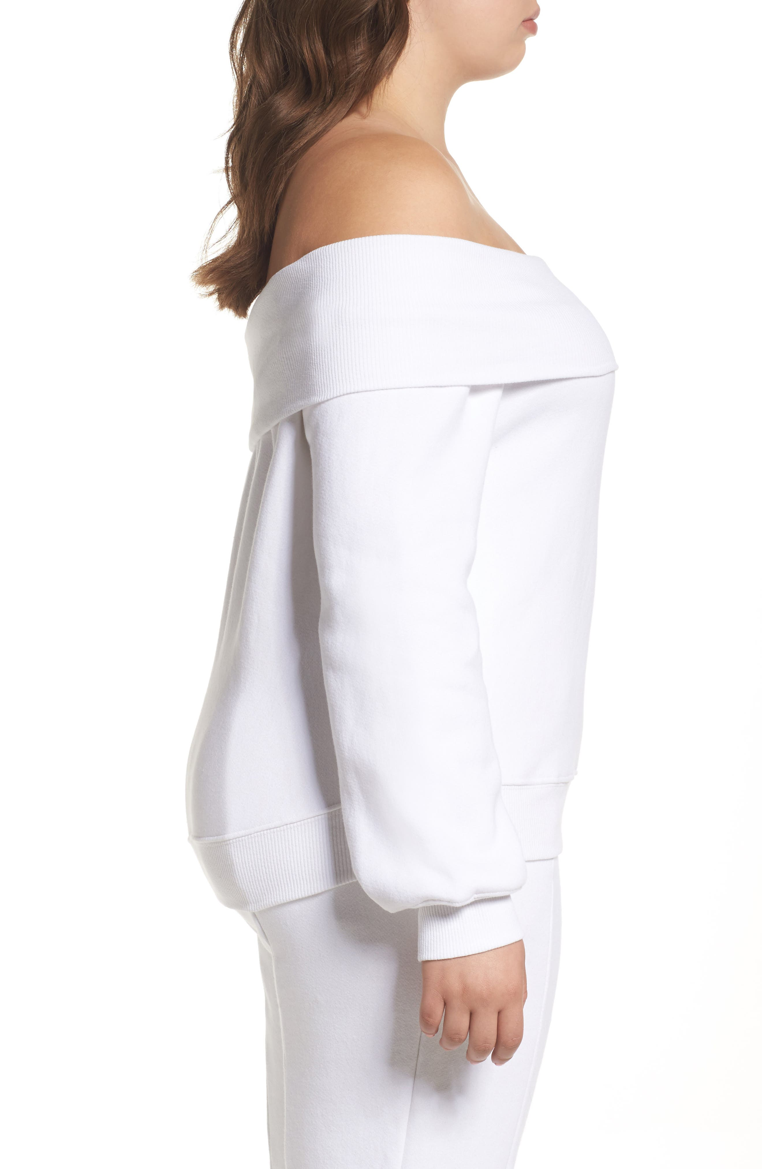 Alternate Image 7  - Good American Good Sweats The Cold Shoulder Sweatshirt (Regular & Plus Size)
