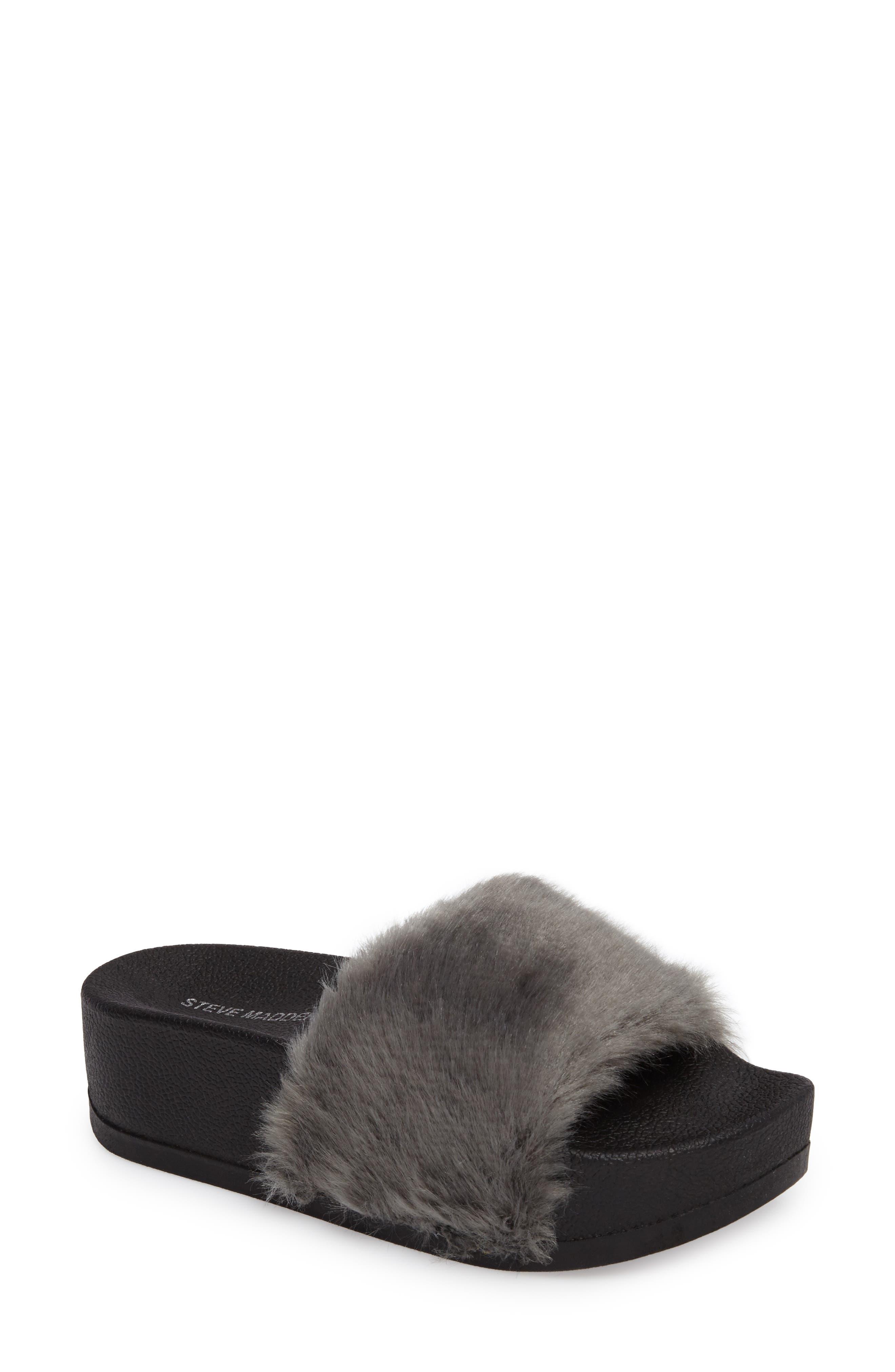 Steve Madden Softey Faux Fur Platform Slide (Women)