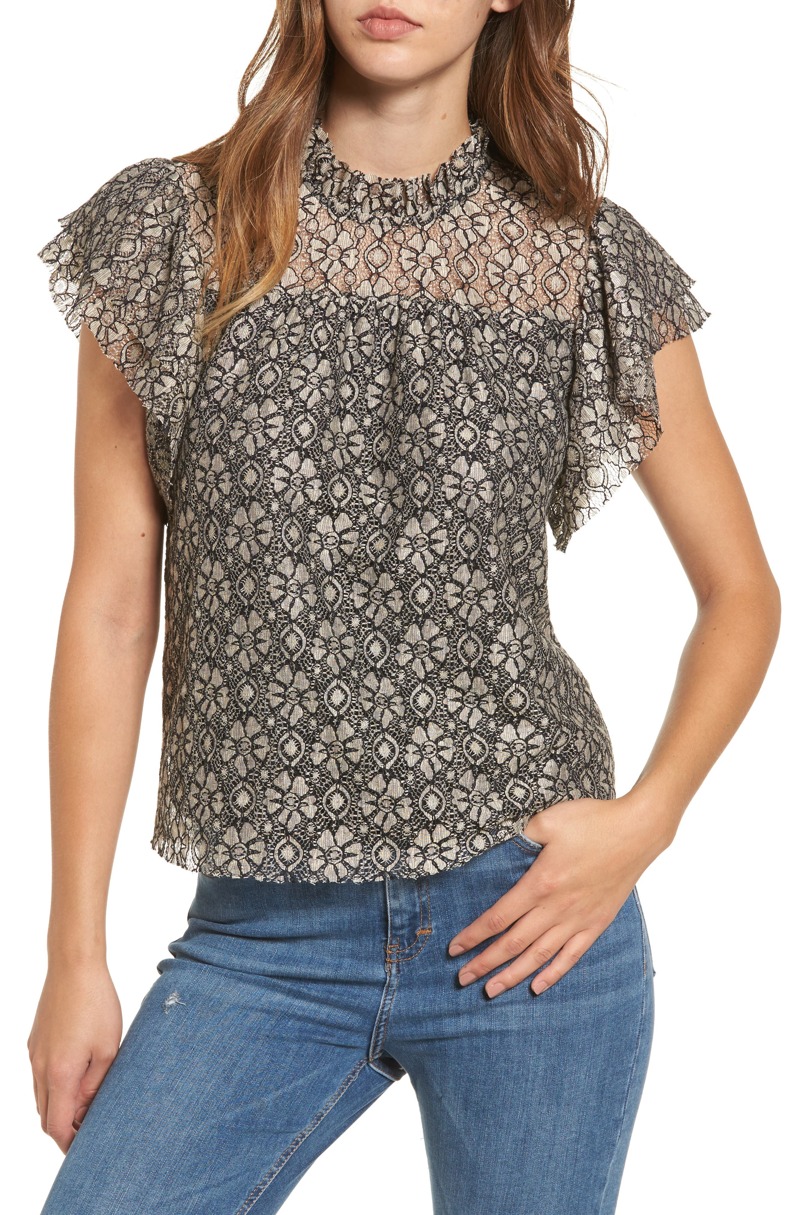 Ruffle Lace Top,                             Main thumbnail 1, color,                             Taupe/ Black
