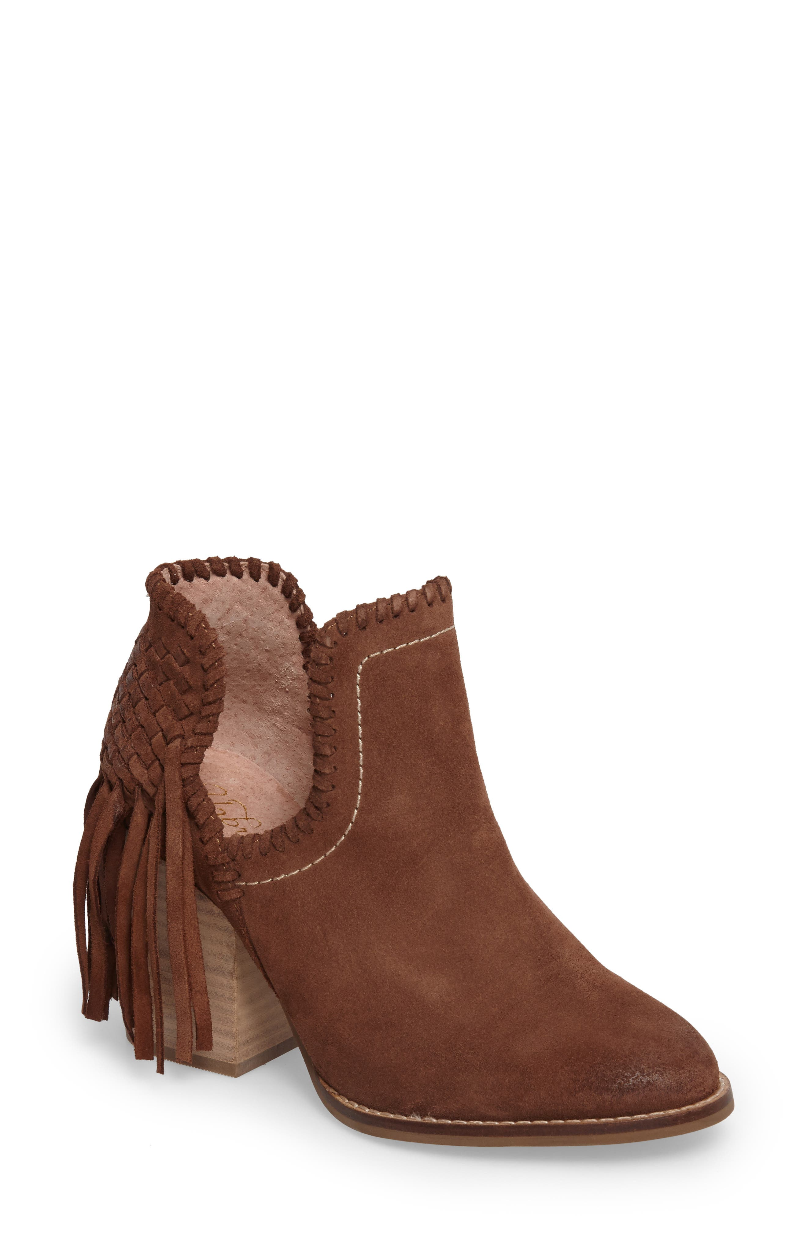 Unbridled Lily Bootie,                             Main thumbnail 1, color,                             Whiskey Suede