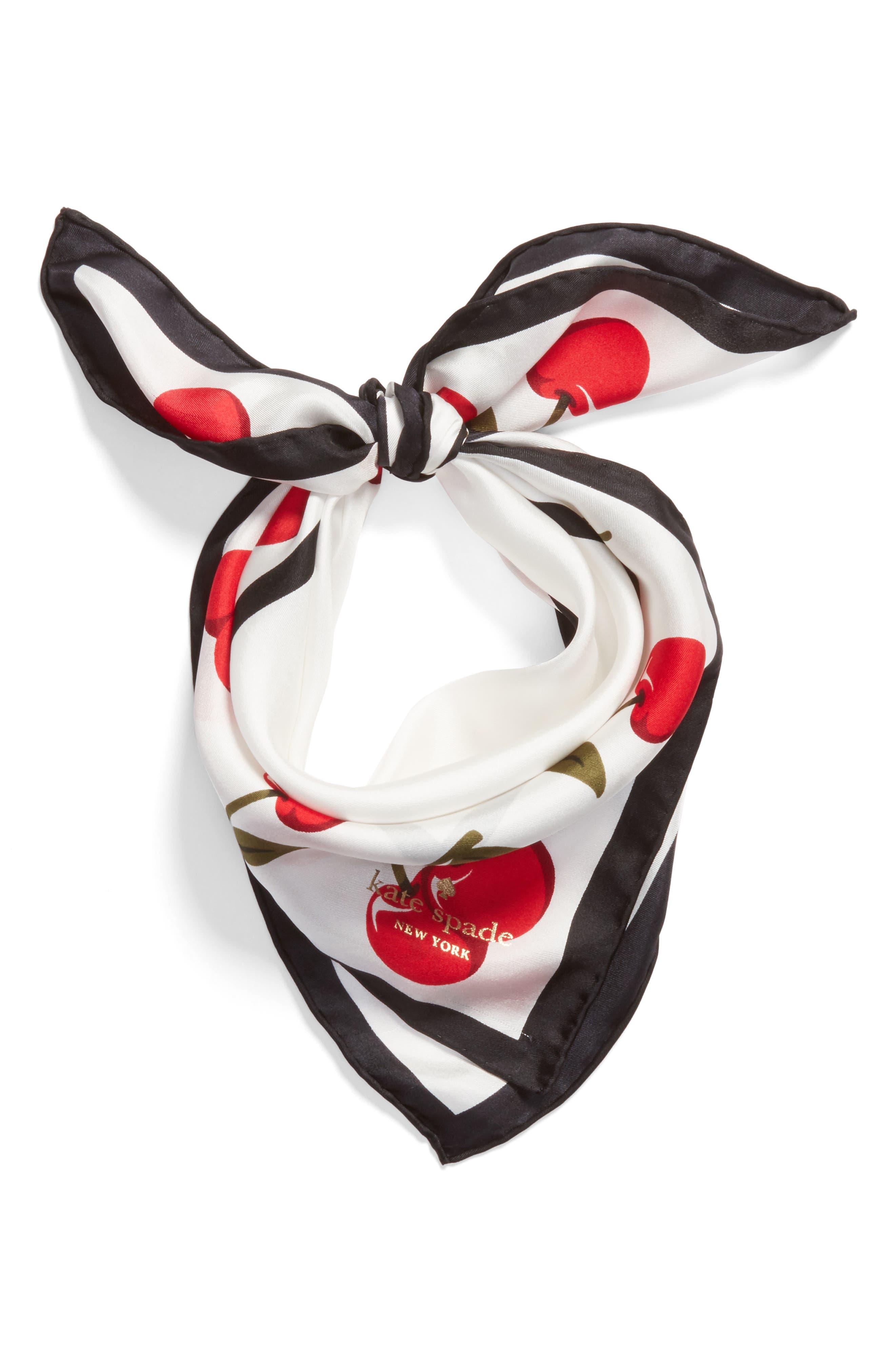 cherry silk bandana,                             Alternate thumbnail 3, color,                             Cream