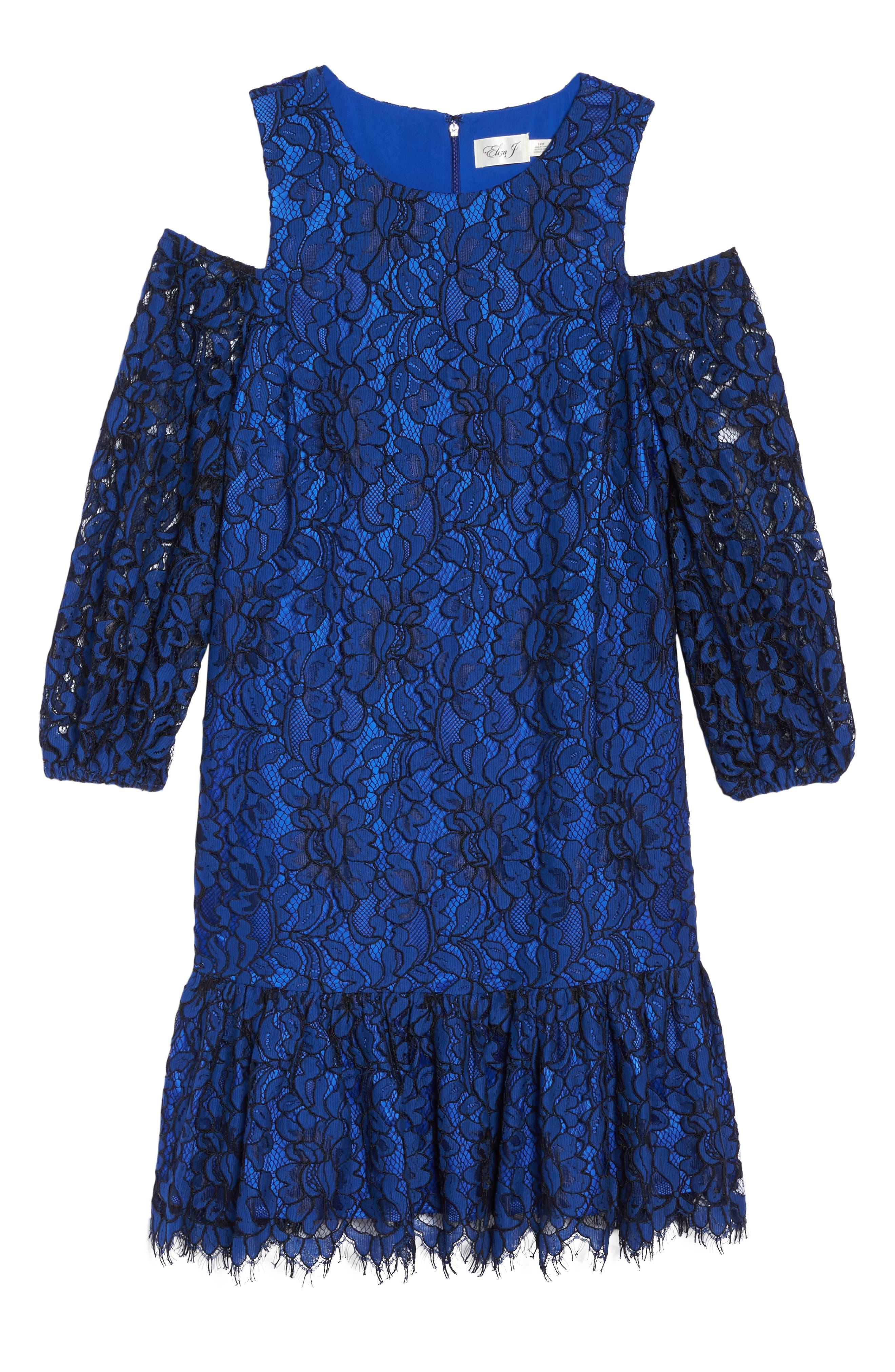 Lace Cold Shoulder Dress,                             Alternate thumbnail 6, color,                             Cobalt/ Black
