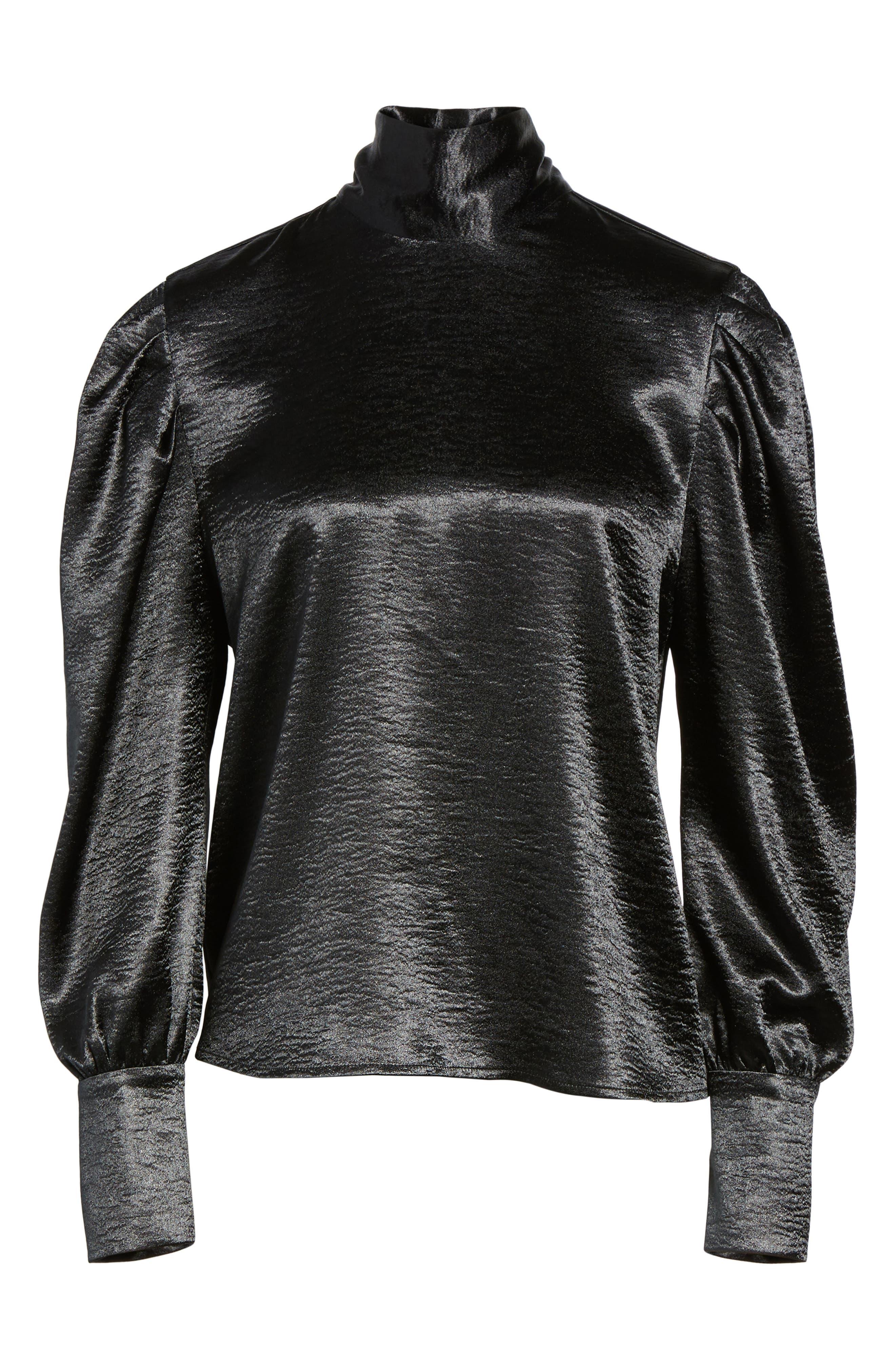 Bloused Sleeve Top,                             Alternate thumbnail 6, color,                             Black