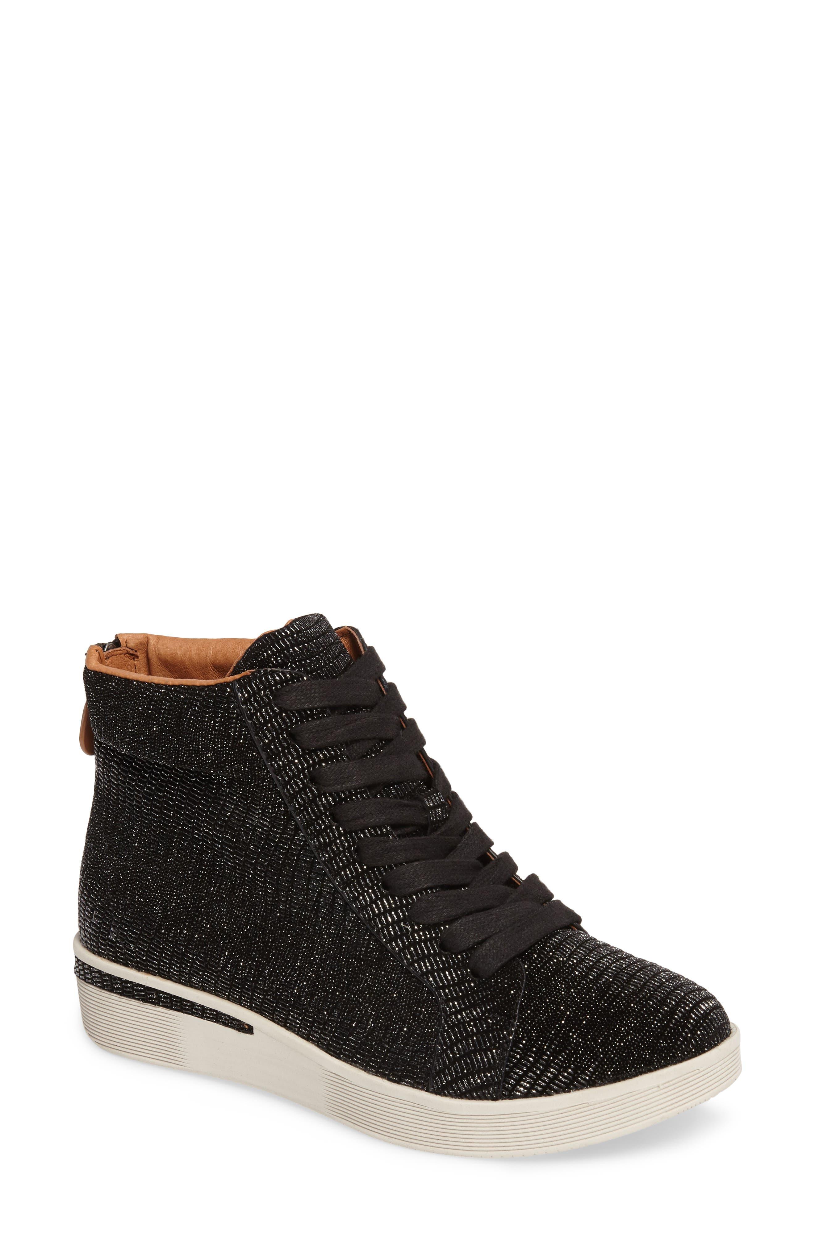 Helka High Top Sneaker,                             Main thumbnail 1, color,                             Black Metallic Leather