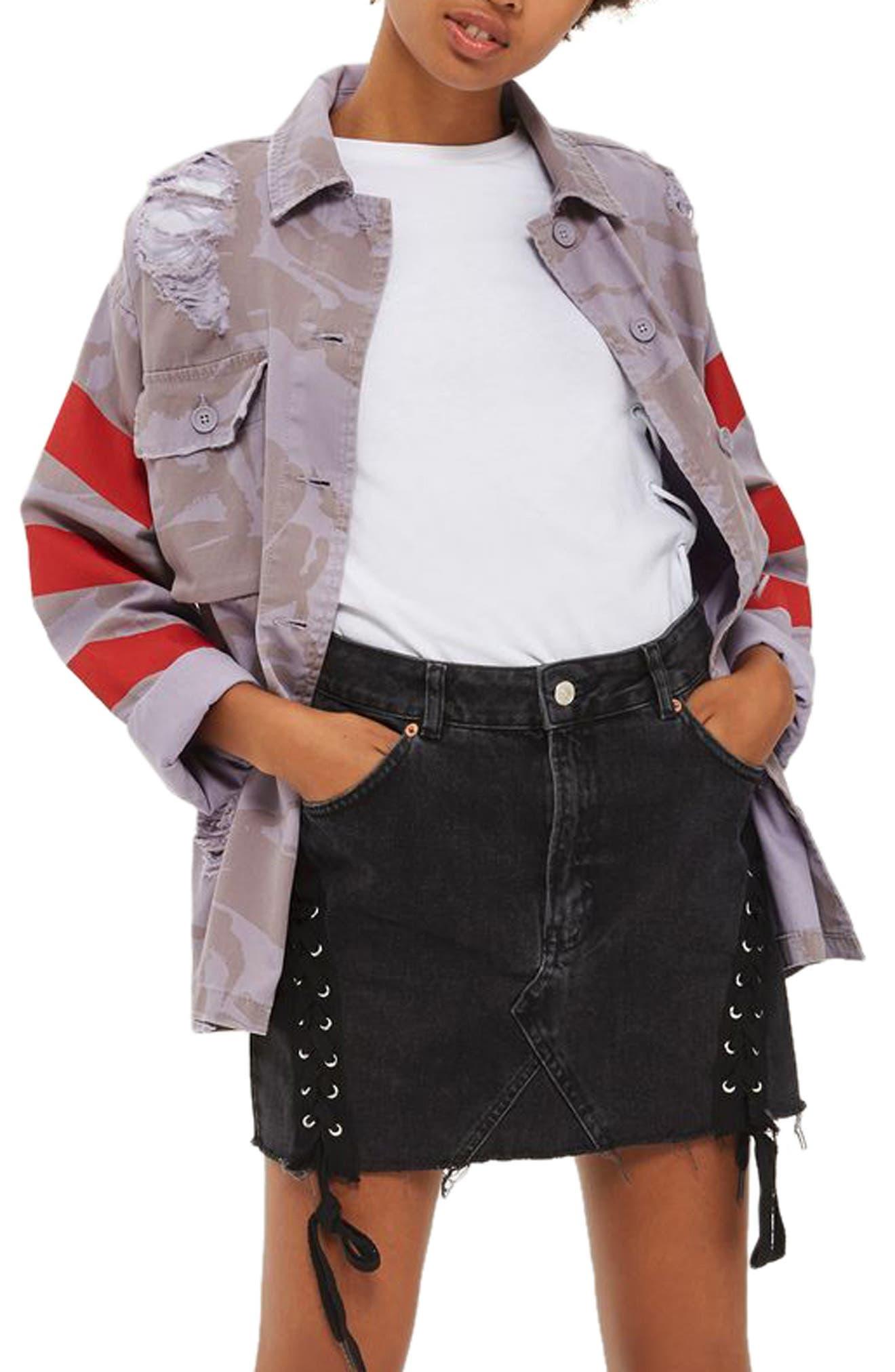 Topshop Ripped Camo Shirt Jacket