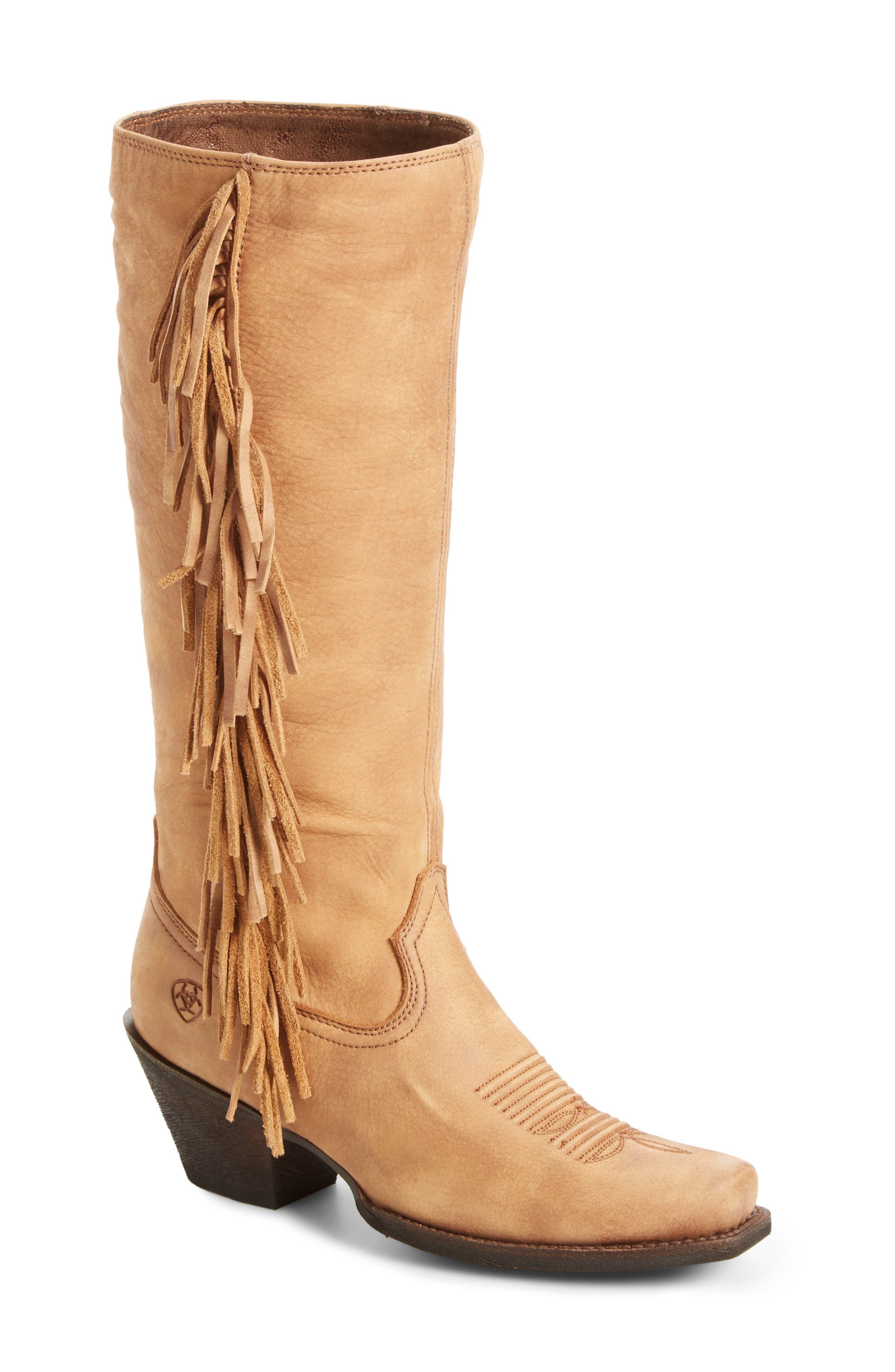 Leyton Fringe Western Boot,                         Main,                         color, Tack Room Honey Leather