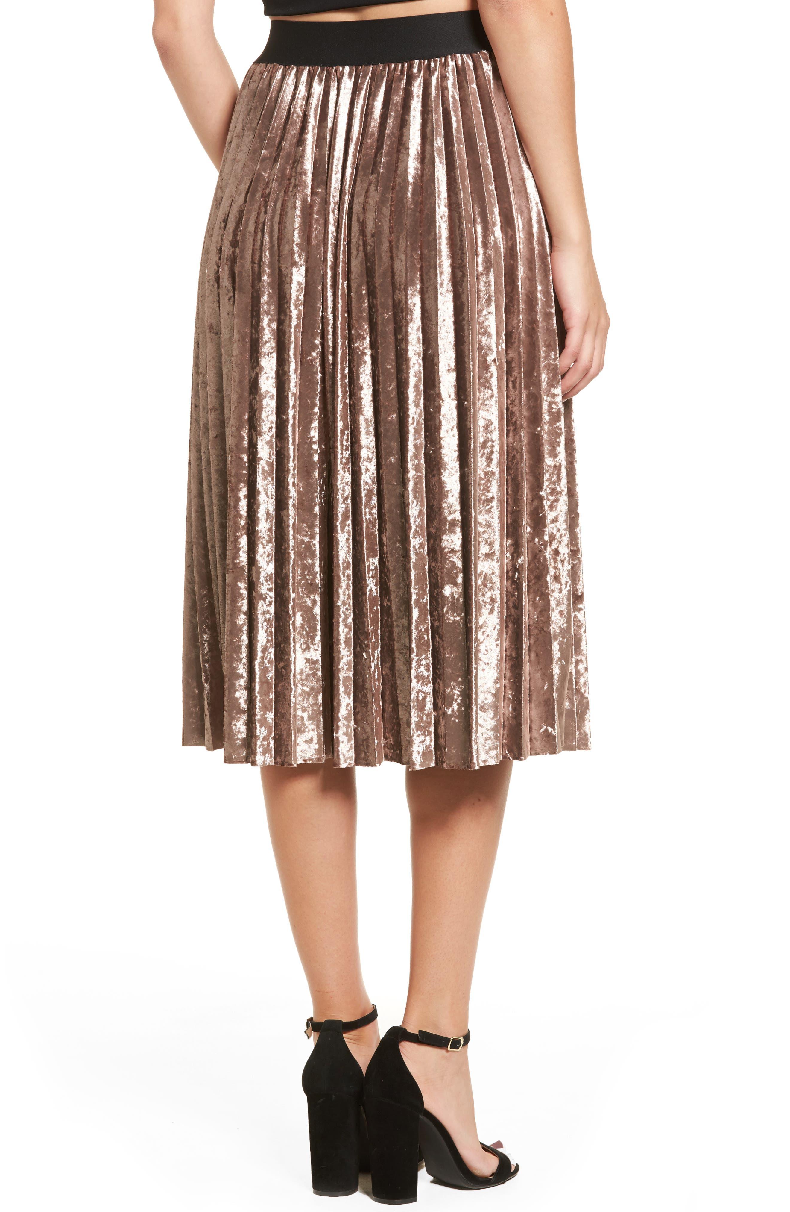 Pleated Velvet Skirt,                             Alternate thumbnail 2, color,                             Mink