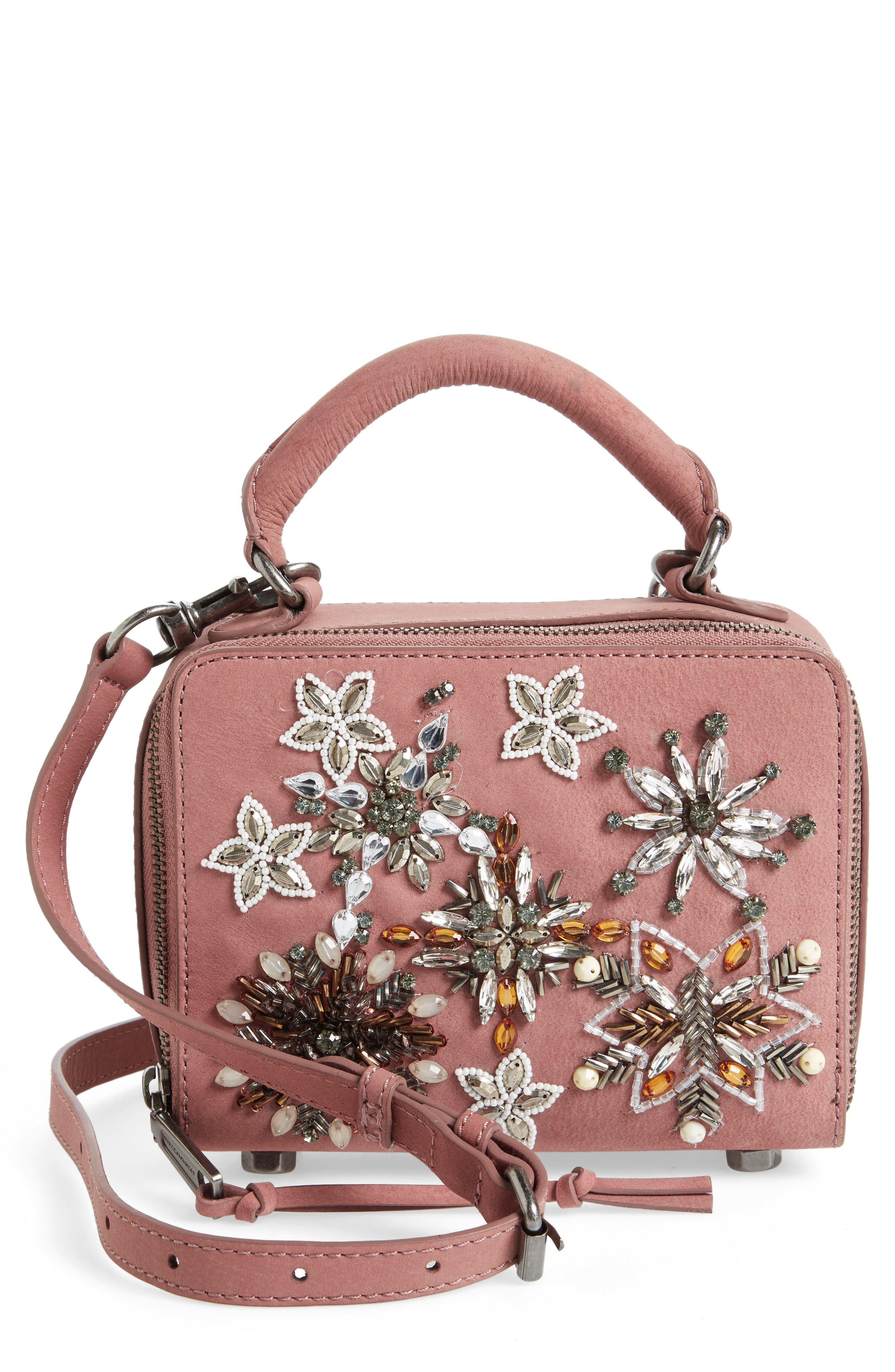 Alternate Image 1 Selected - Rebecca Minkoff Embellished Box Leather Crossbody Bag